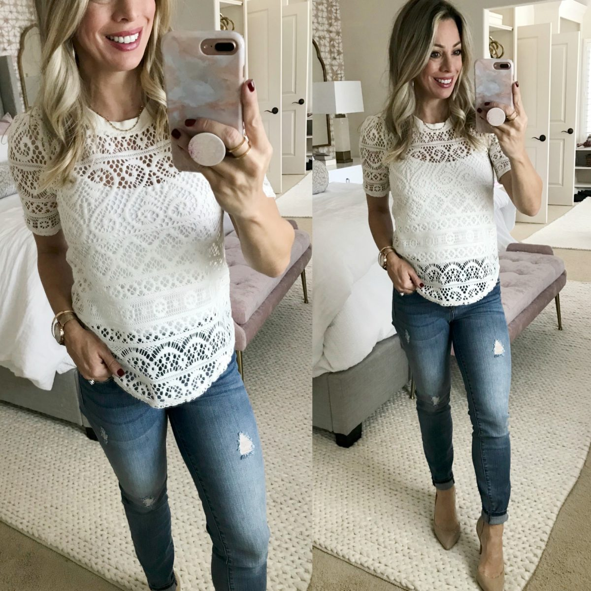 Cute Fall Outfit crochet top and jeans