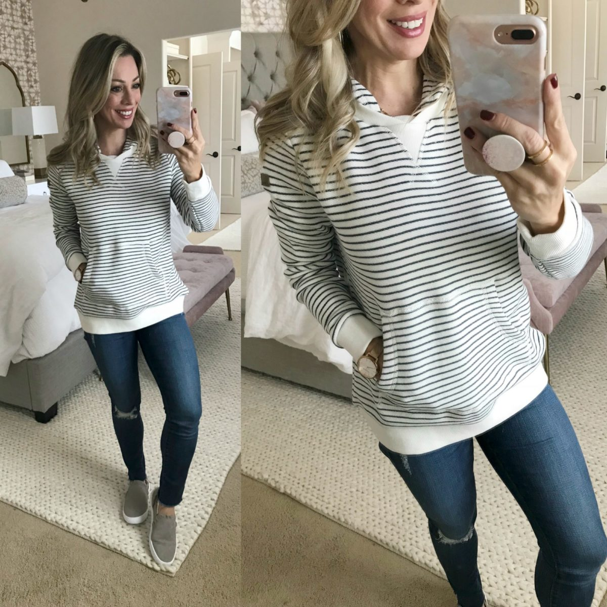 Cute Fall Outfit striped hoodie jeans and slip on sneakers