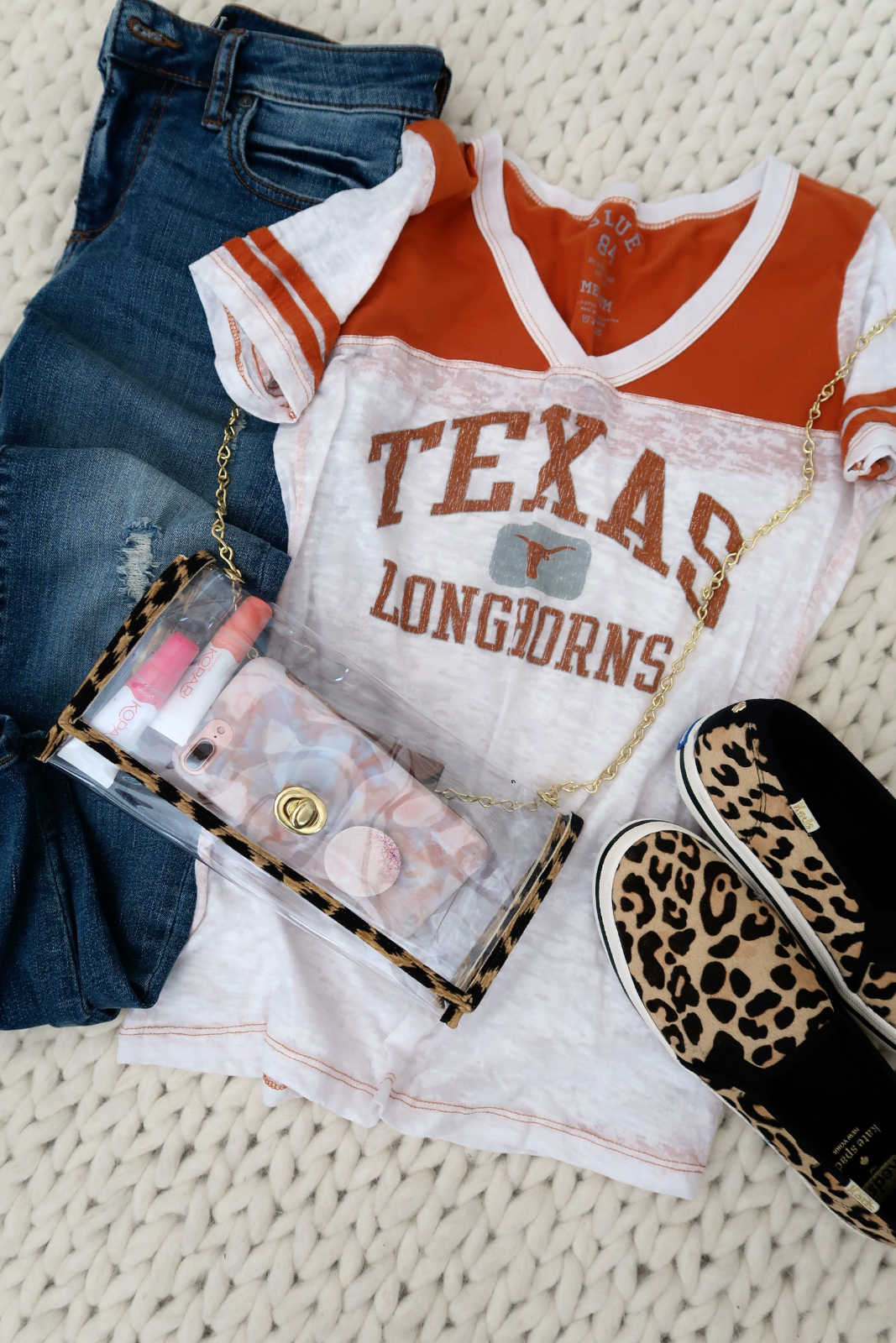 Cute Game Day outfit with stadium approved clear bag