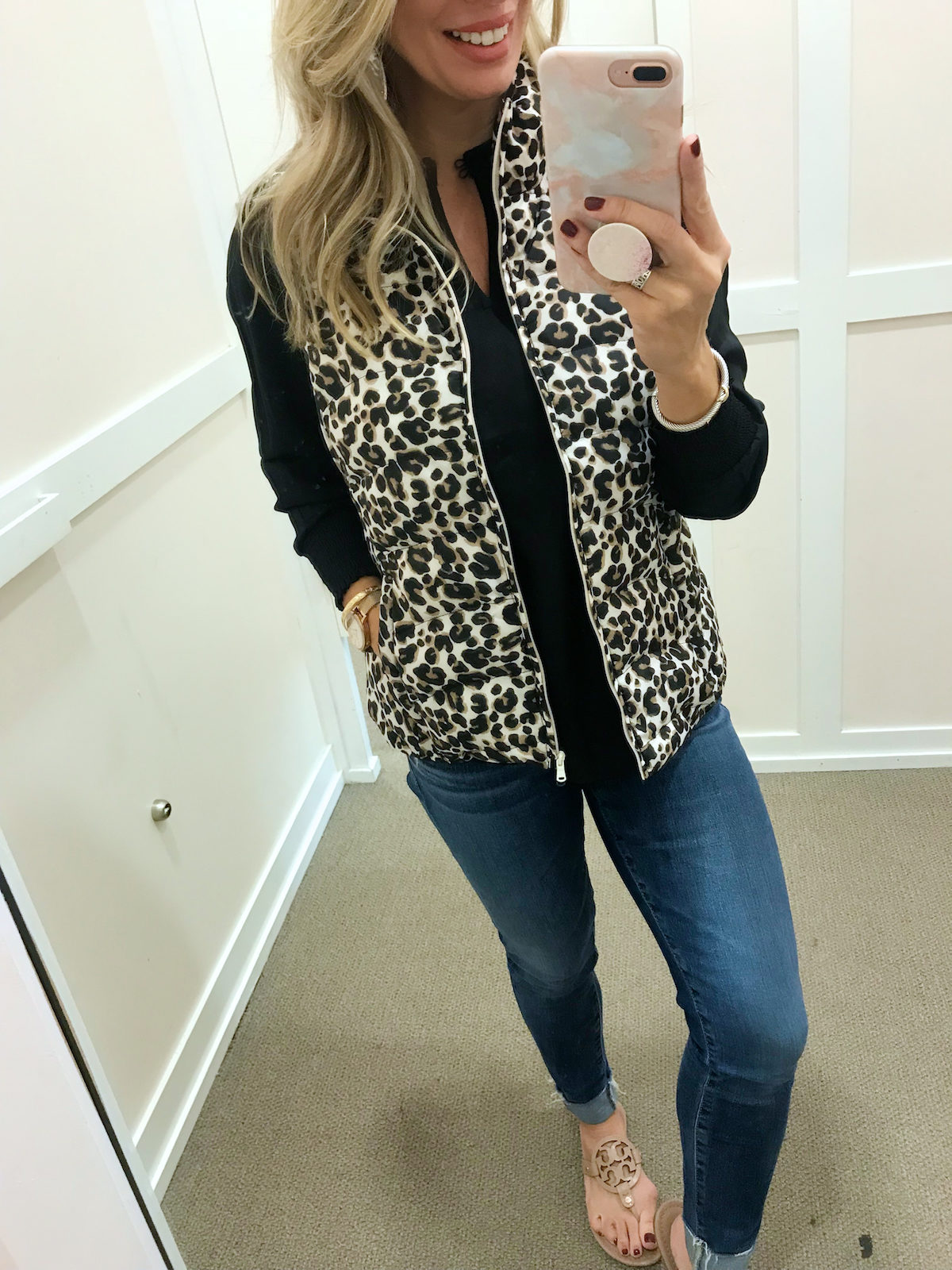 Leopard puffy vest