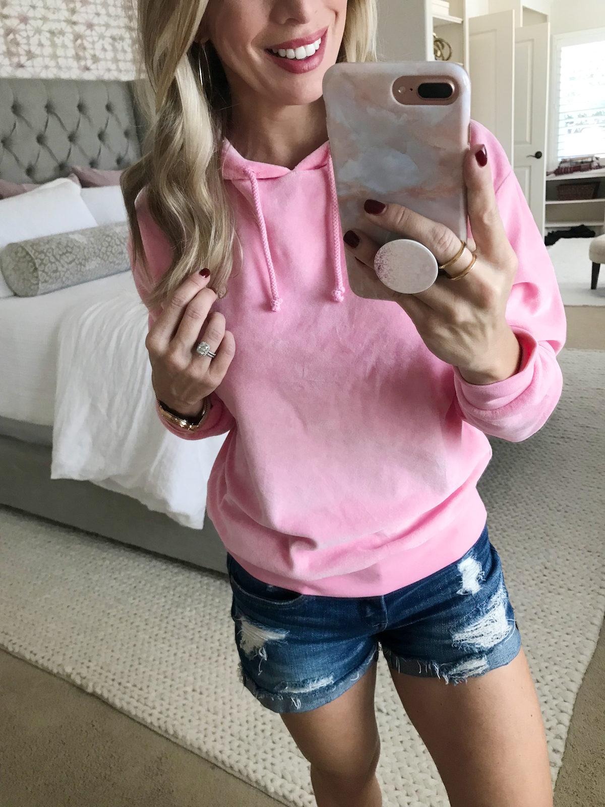 Pink velour hoodie