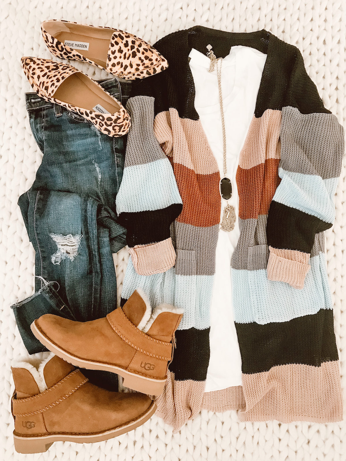 Striped cardigan with jeans and Ugg booties (2)