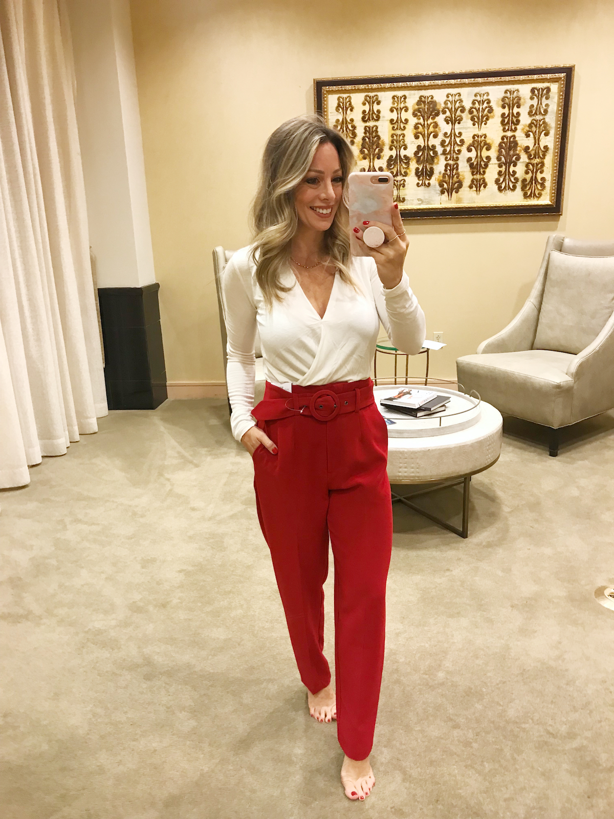 Black Friday Sales 2018 Nordstrom red pants and white wrap top