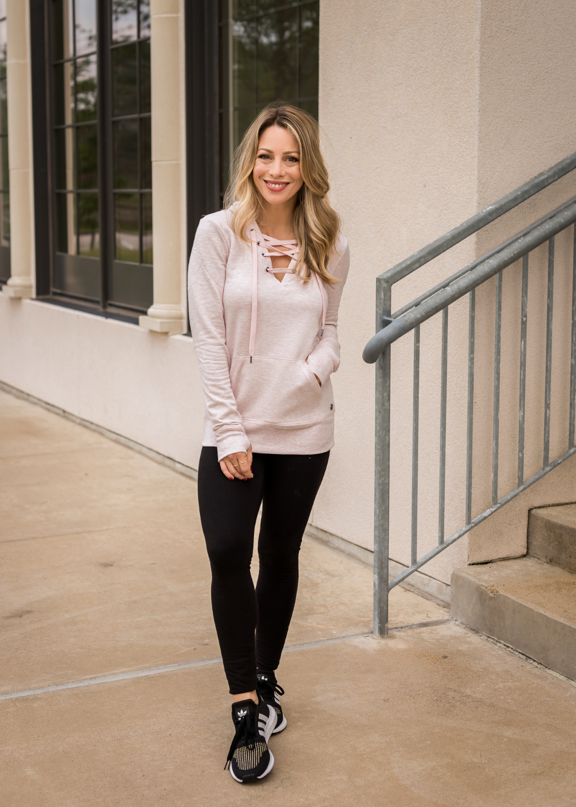 Cute Athleisure outfit with lace up hoodie (1)