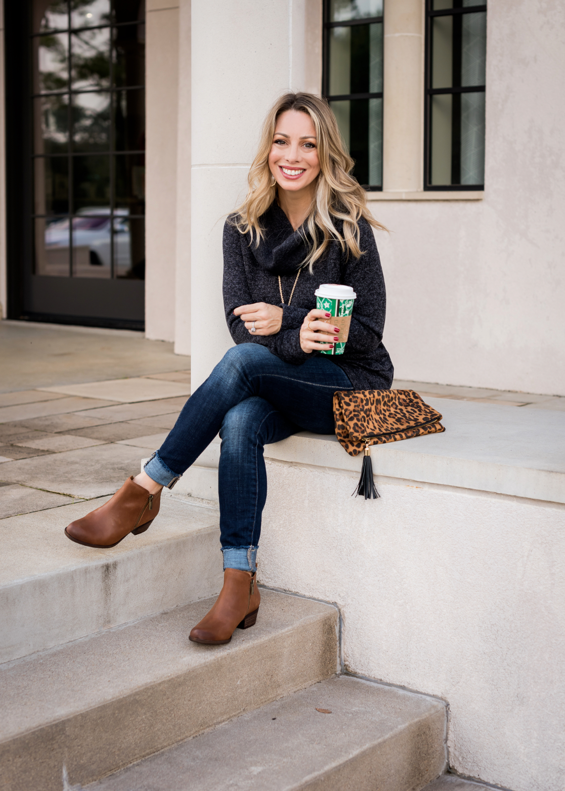 Cute Fall Outfit - cowl neck top and jeans (2)