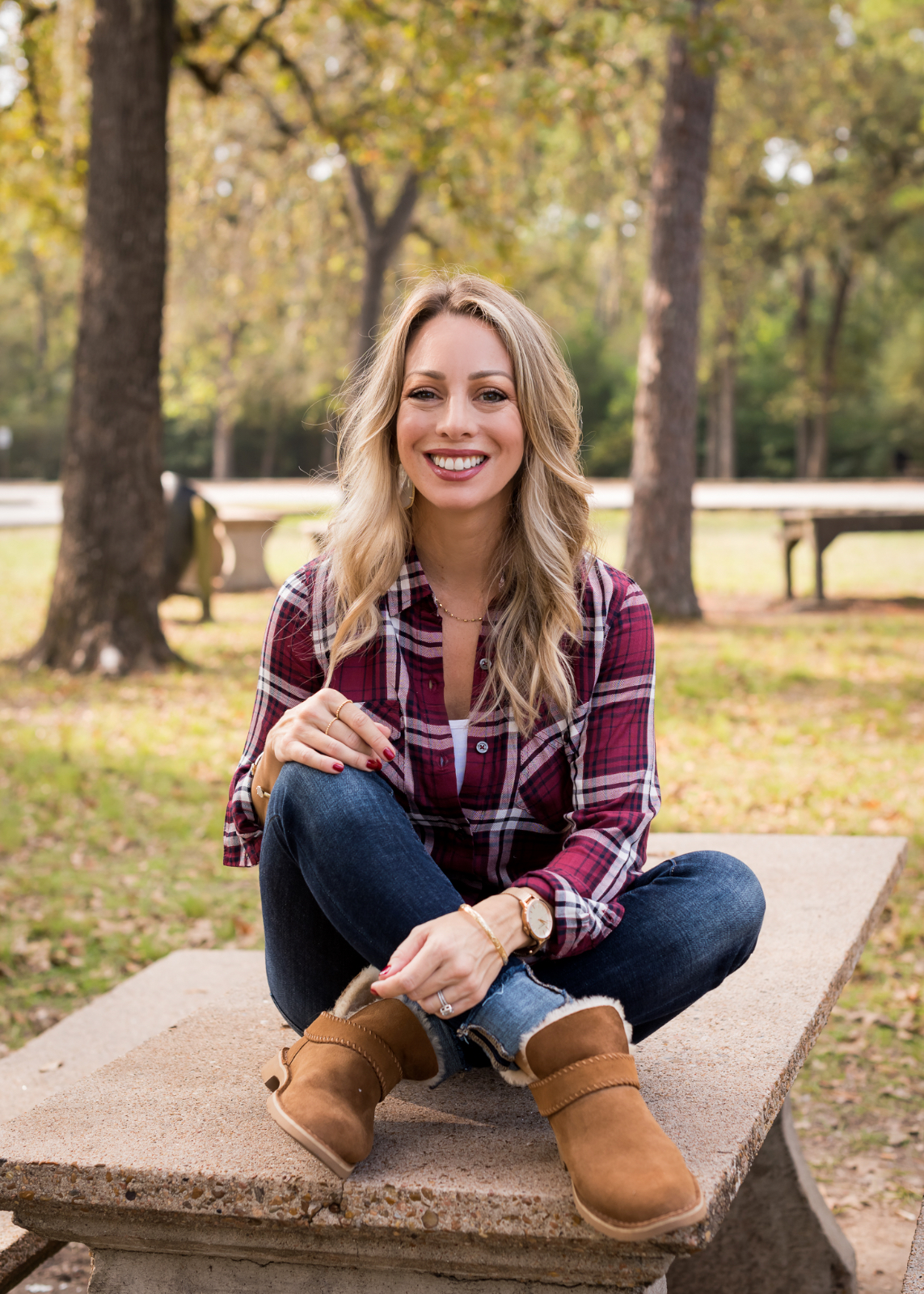 Cute Fall Outfit plaid top jeans and booties