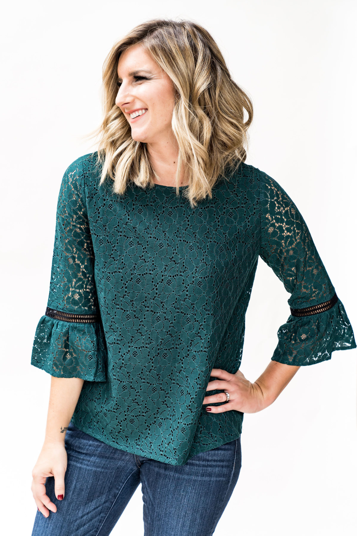 Gibson x Glam lace bell sleeve top