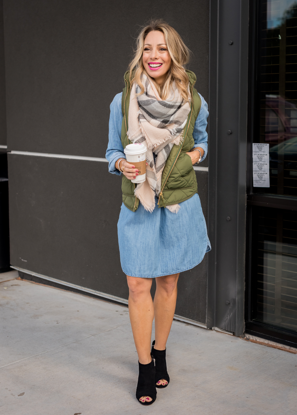 Denim Dress with green vest and scarf