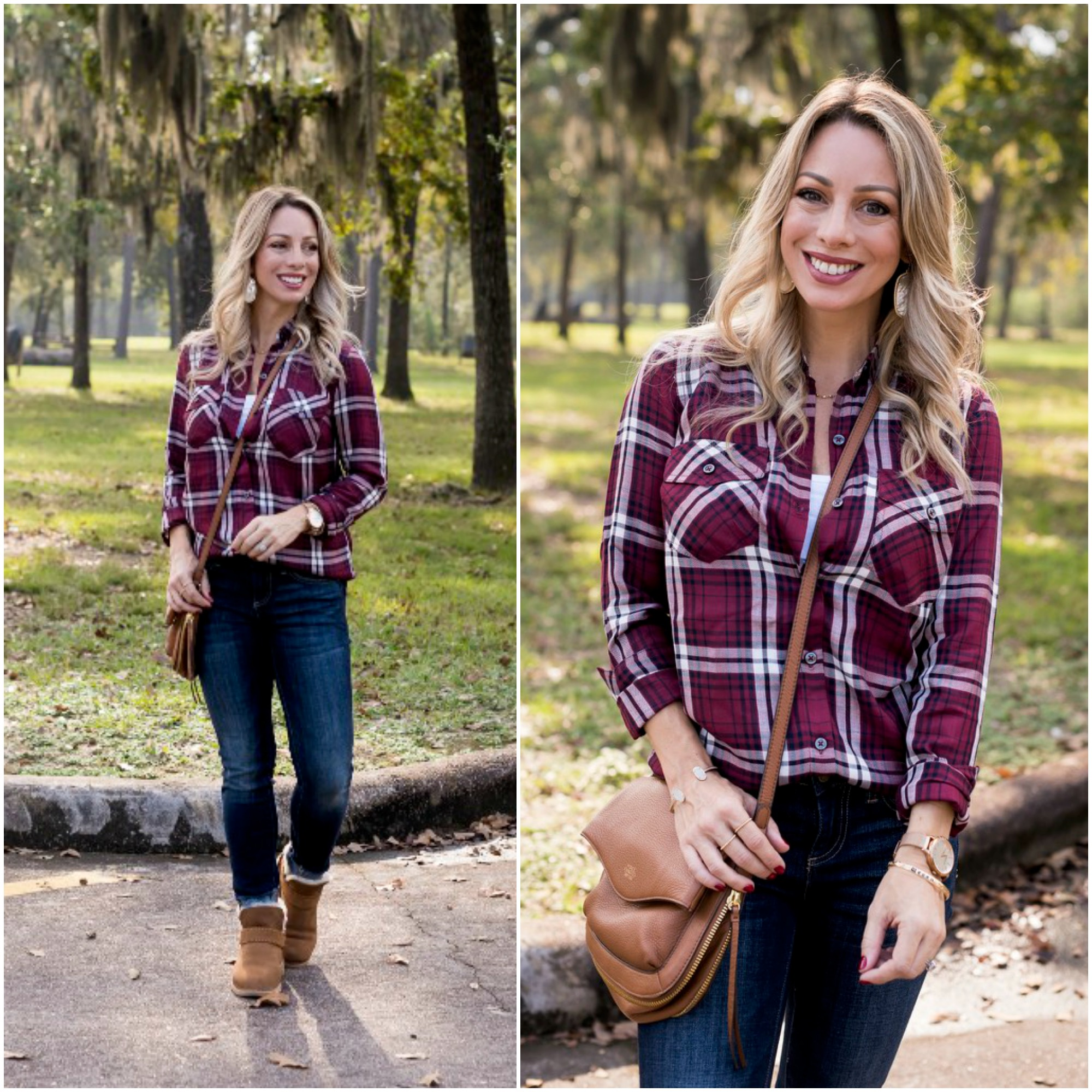 Fall outfit - plaid top and jeans with booties