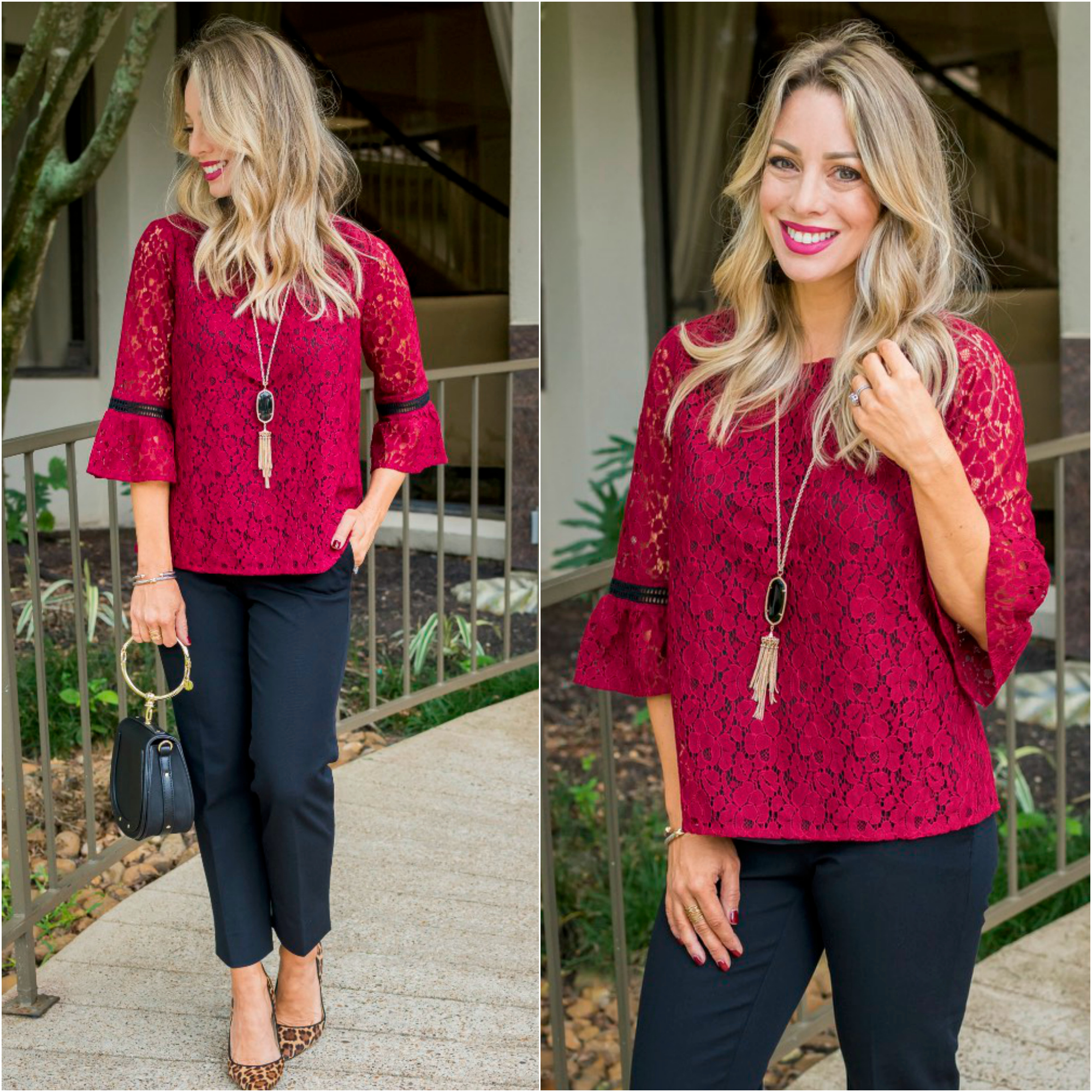 Gibson x Glam ERIN Allover Lace Top