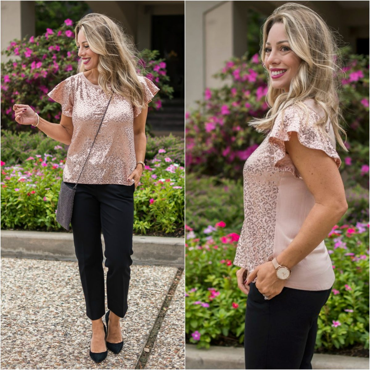 Gibson x Glam Sequin Flutter Sleeve Top.1
