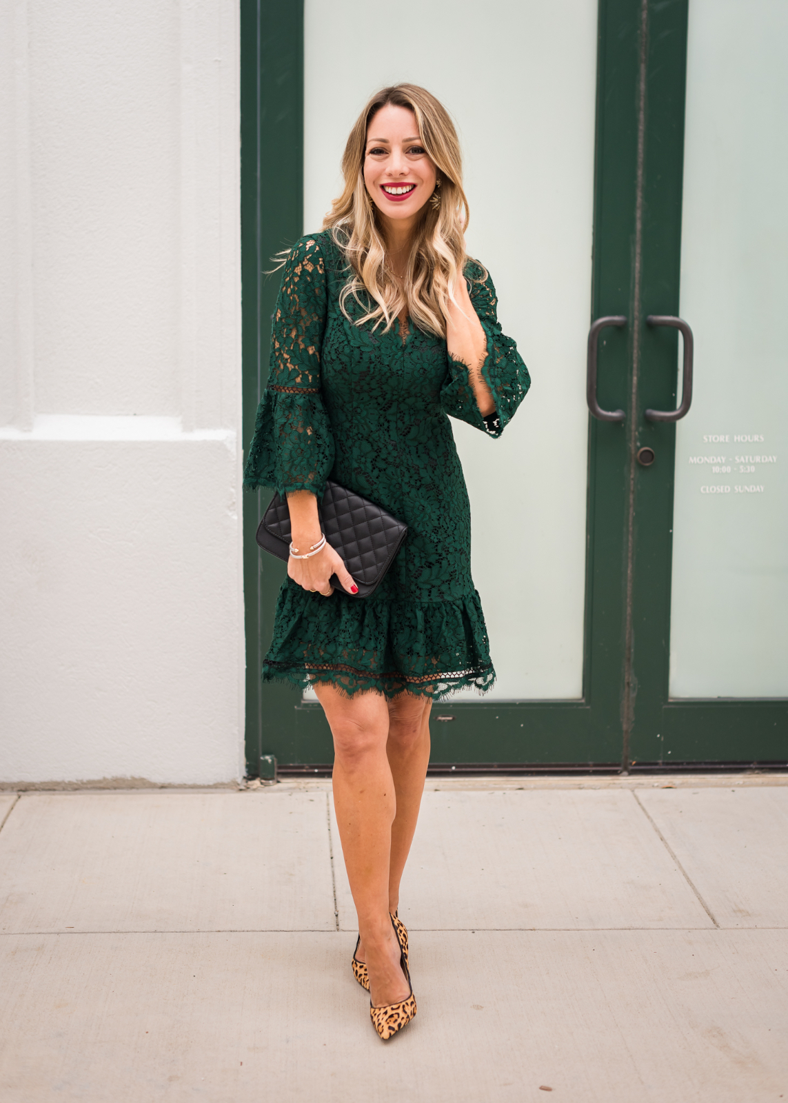 Green lace holiday dress 5