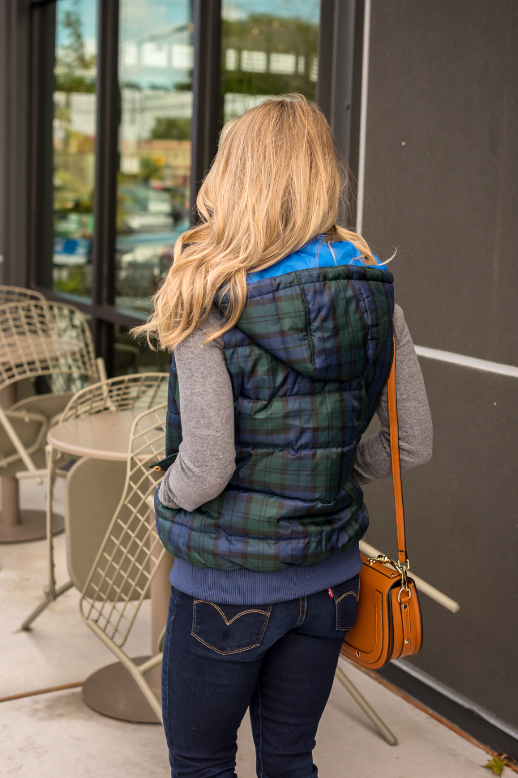 Grey top plaid puffer vest with jeans and leopard flats (1)
