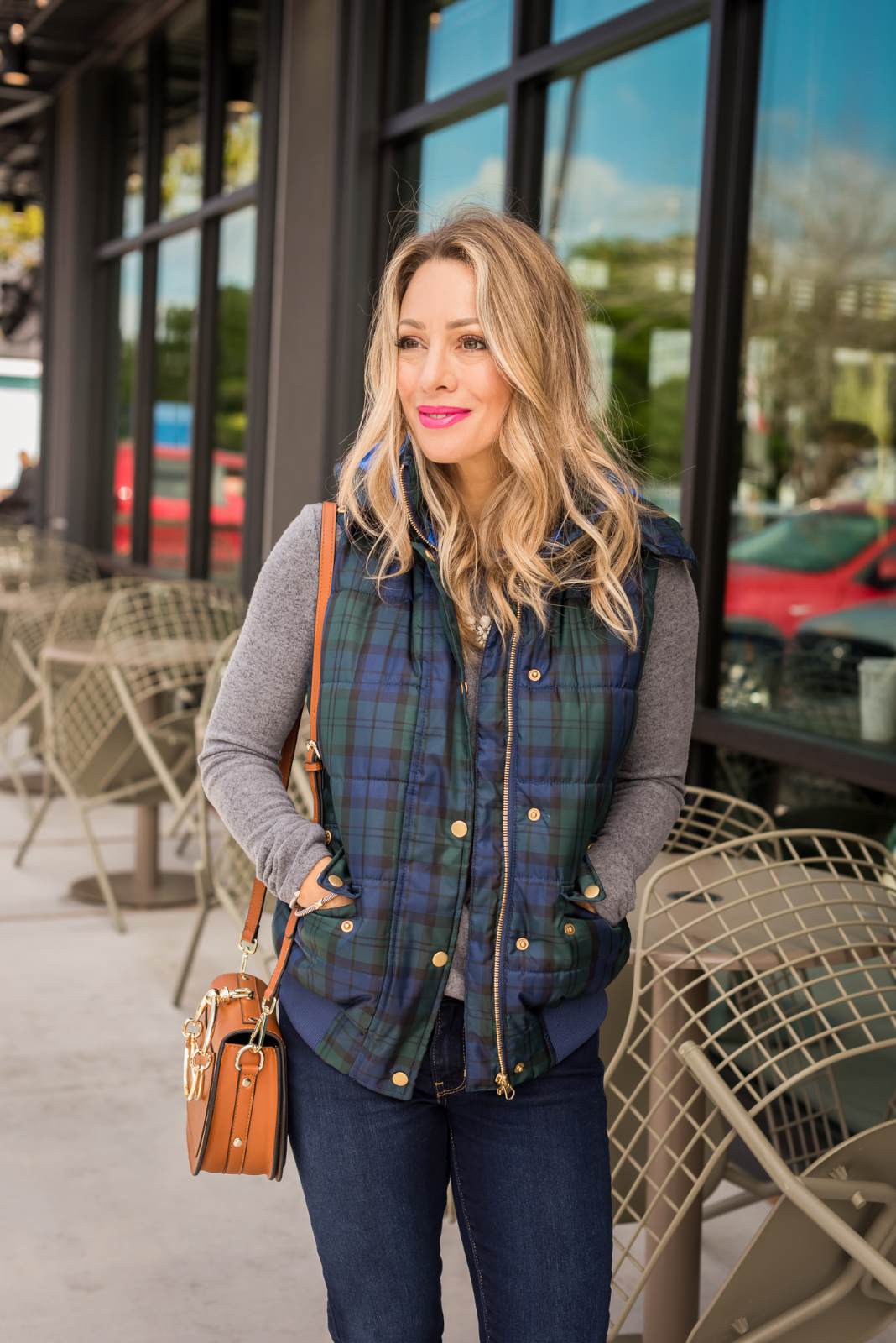 Grey top plaid puffer vest with jeans and leopard flats (2)