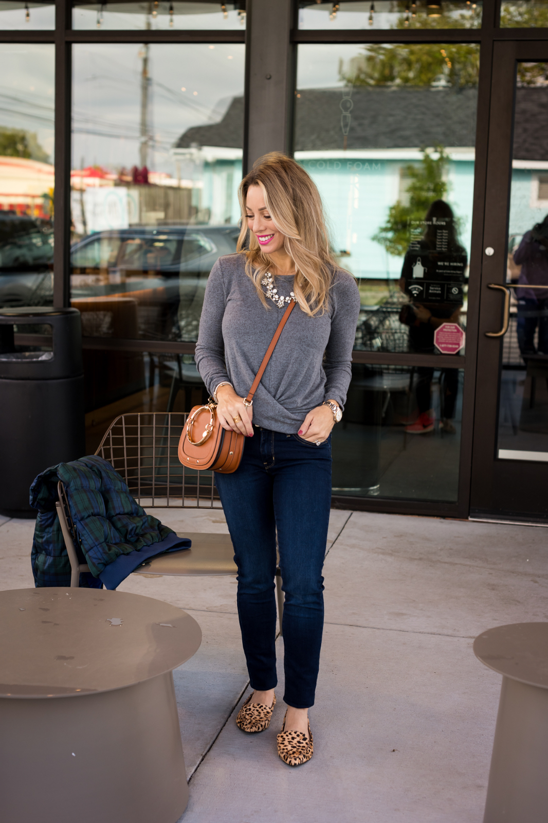 Grey top with jeans and leopard flats