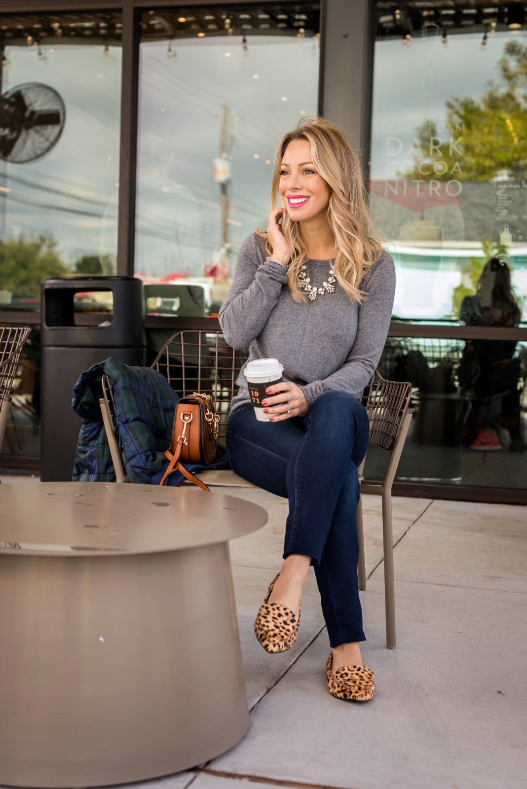 Grey twist front sweater jeans and leopard flats