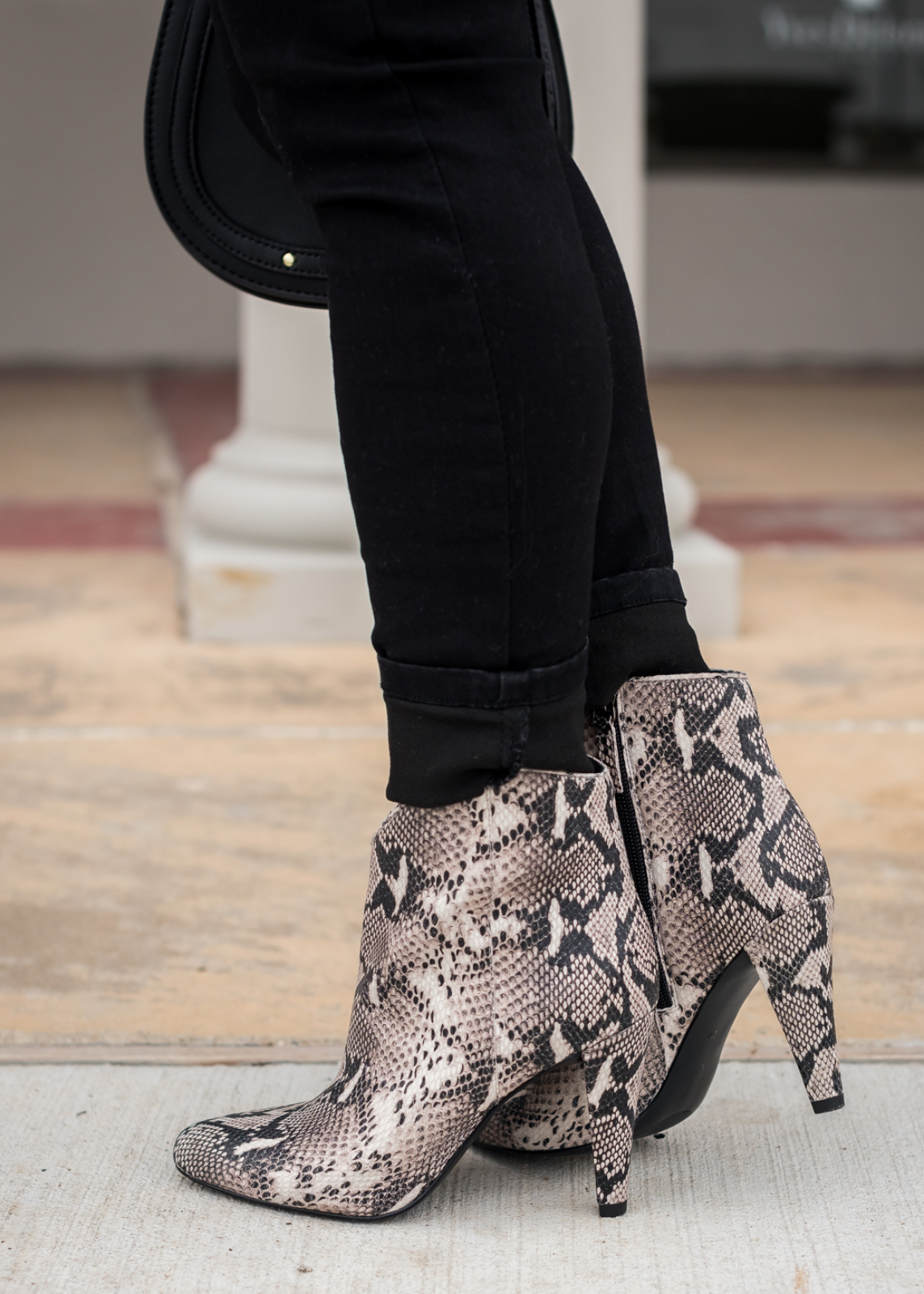 How to Style Ankle Booties - snakeskin boots and black jeans (2)