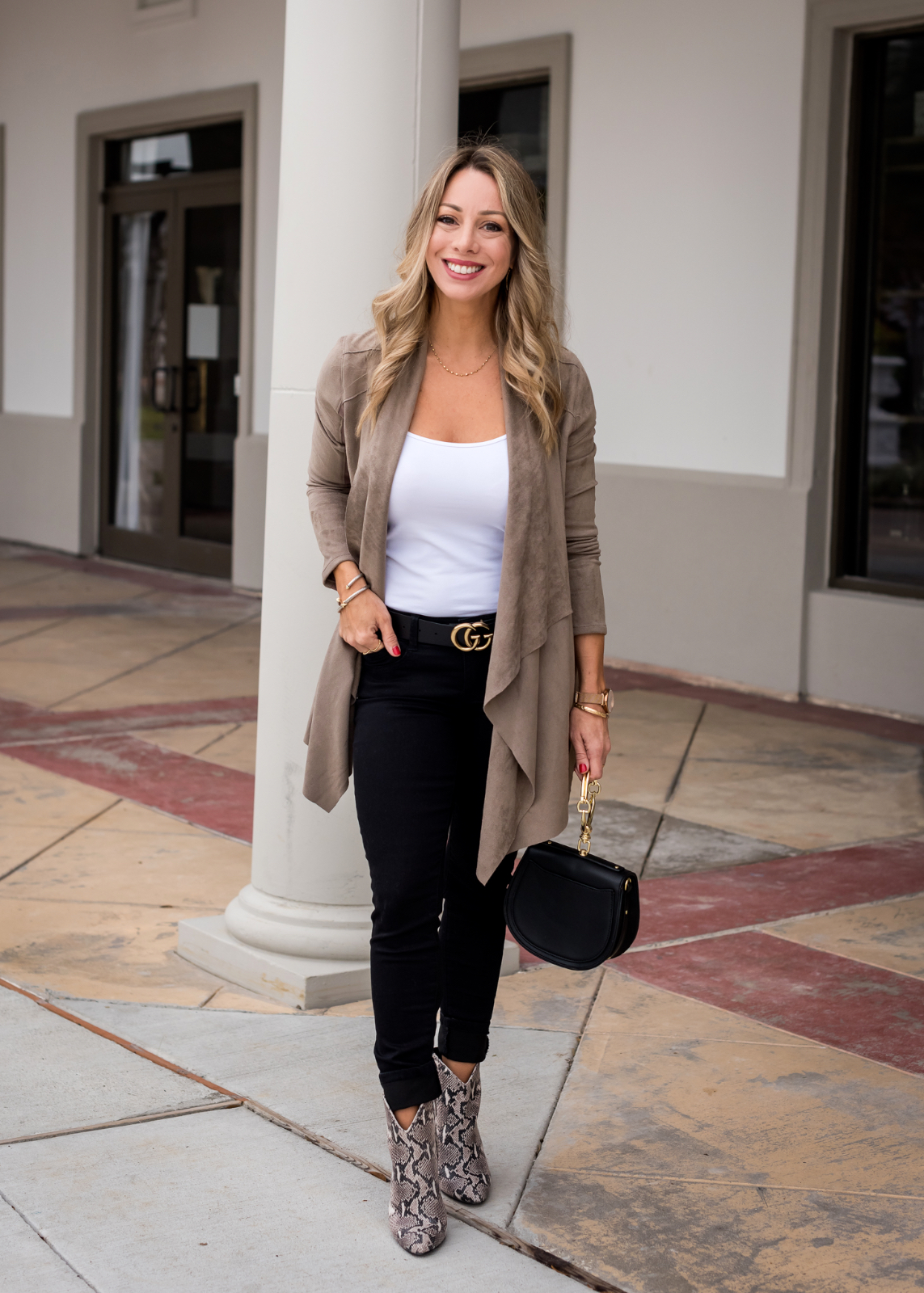 How to Style Ankle Booties - snakeskin boots and black jeans
