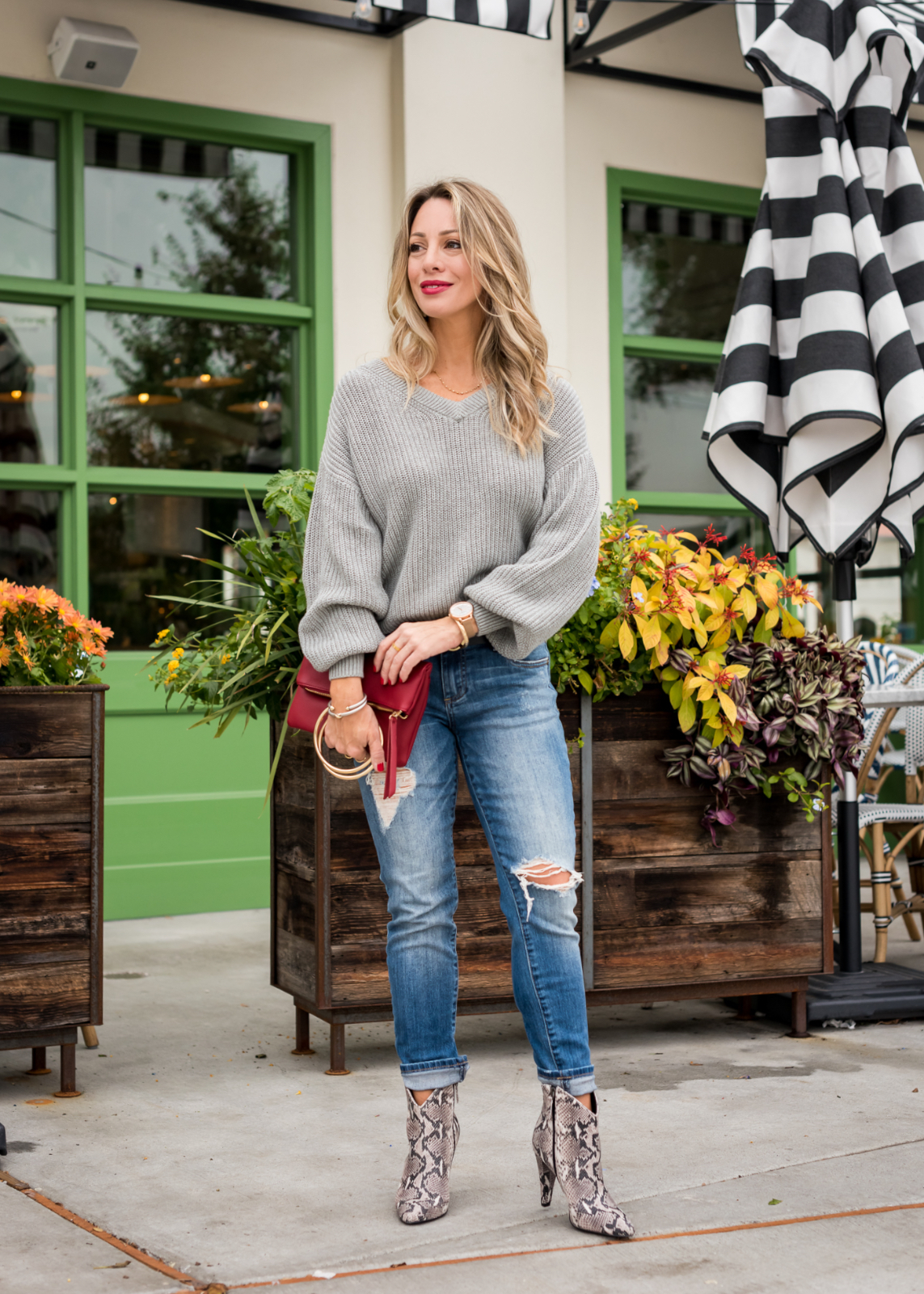 How to Style Ankle Booties - snakeskin boots and slim boyfriend jeans (1)