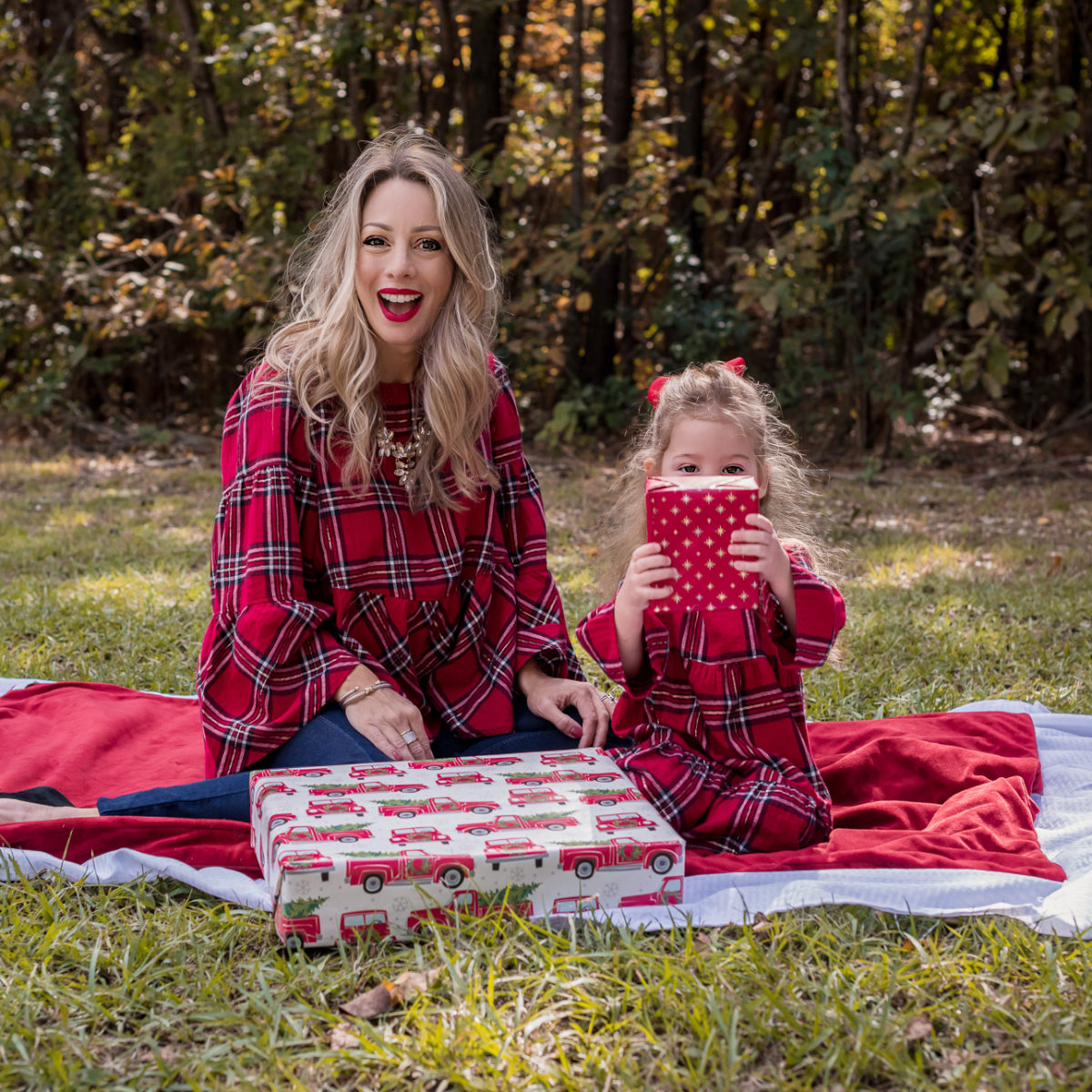 Mother Daughter Christmas Outfits red plaid.1