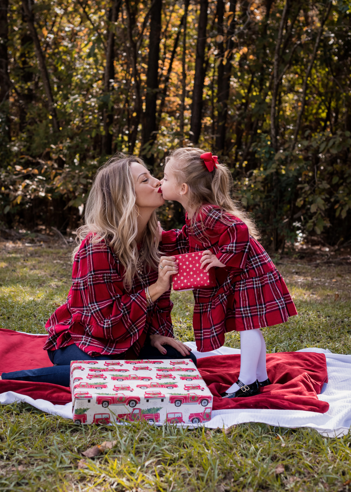 Mother Daughter Christmas Outfits red plaid.3