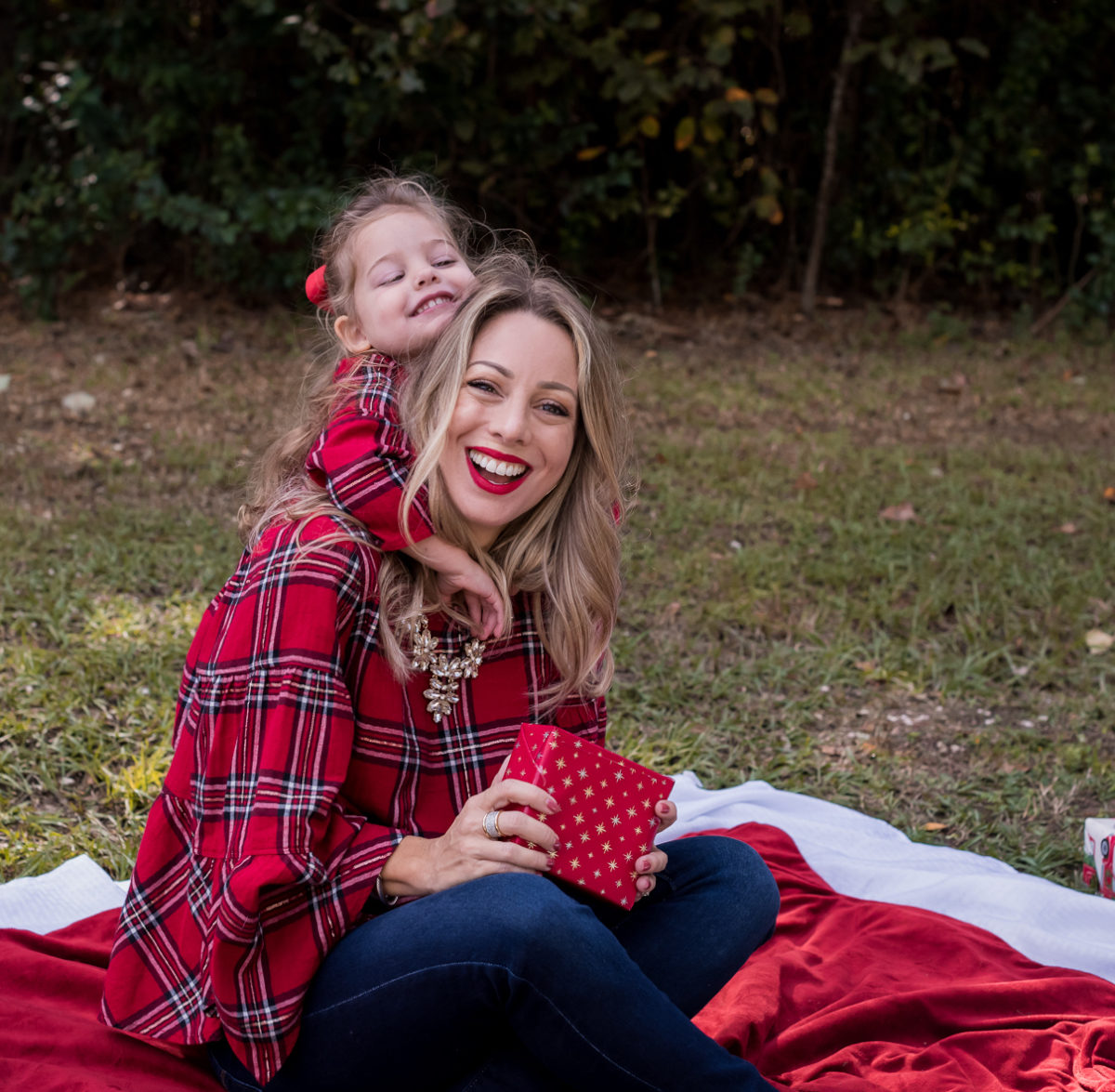 Mother Daughter Christmas Outfits red plaid.4
