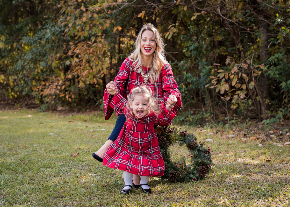 Mother Daughter Christmas outfits red plaid