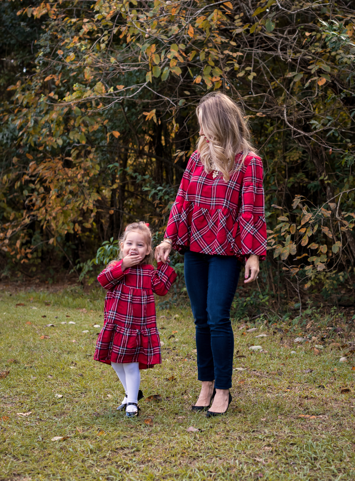 Mother Daughter Christmas outfits red plaid (5)