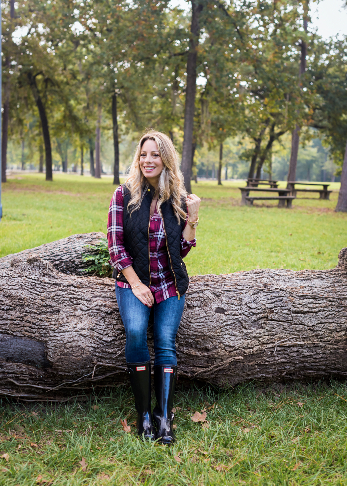 Thanksgiving Outfit black vest plaid top and hunter boots 3