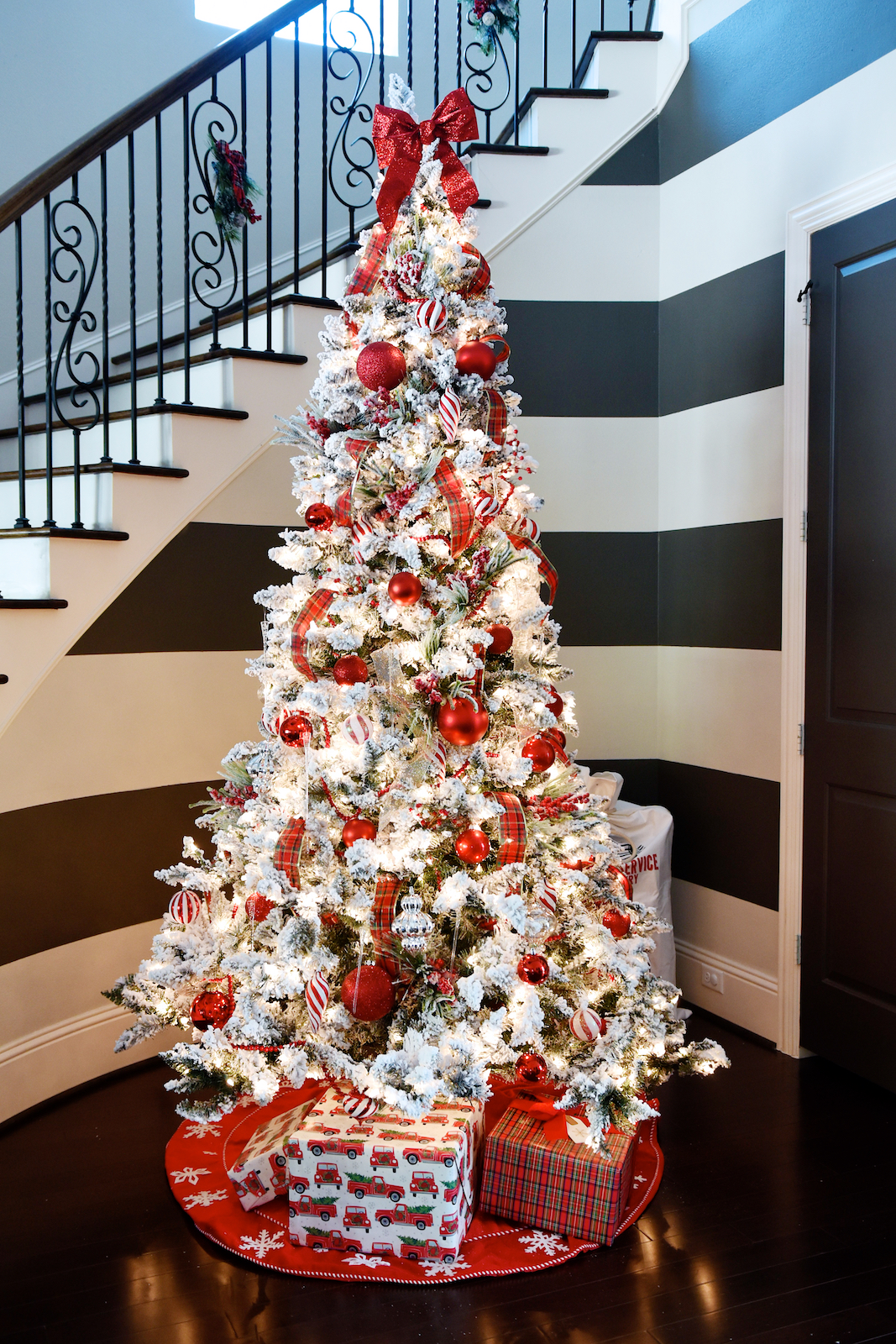 Christmas Decor - flocked Christmas tree