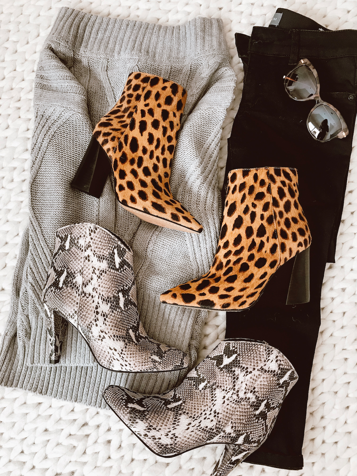 Winter outfit - snakeskin and leopard booties