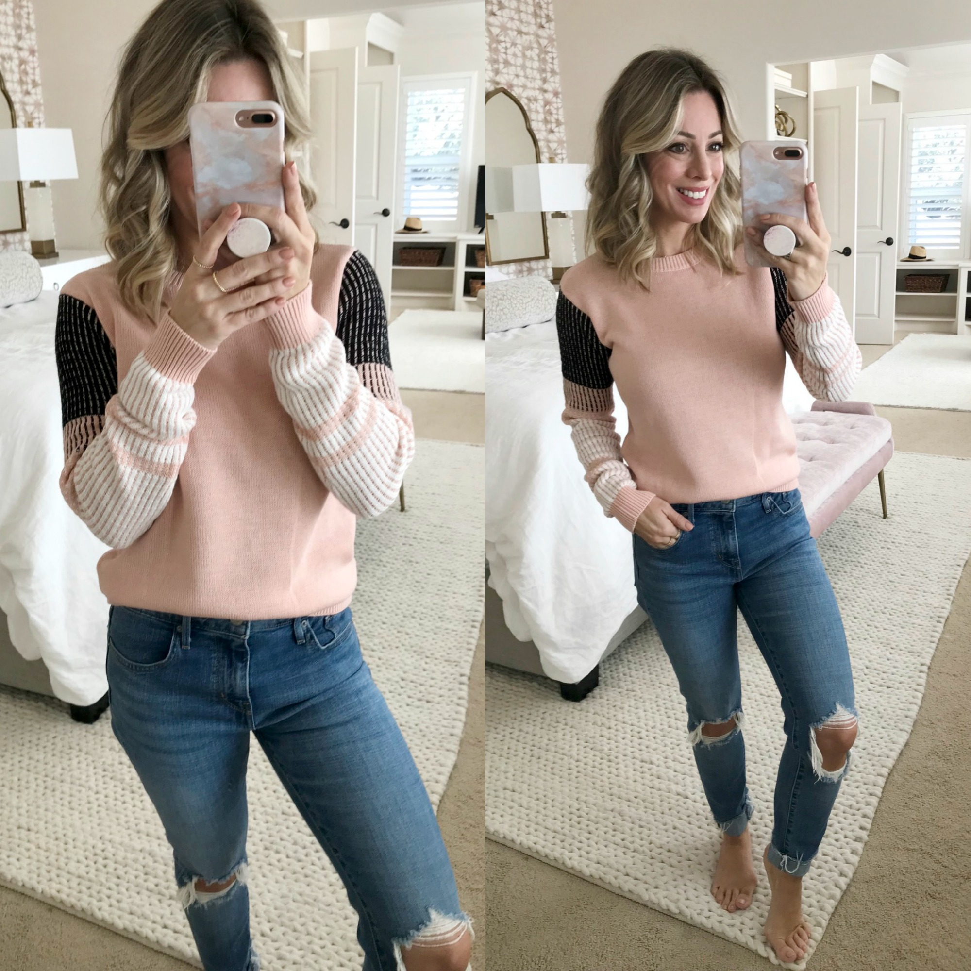 Amazon Fashion Try On - colorblock sleeve sweater