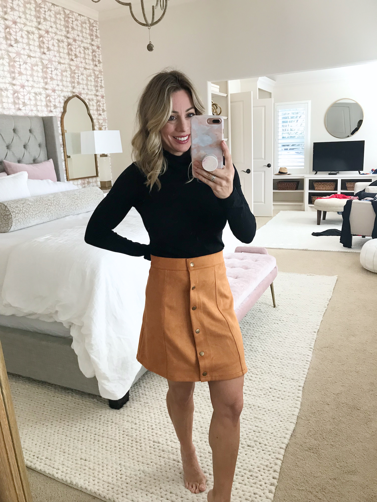 Amazon Fashion Try On -faux suede skirt