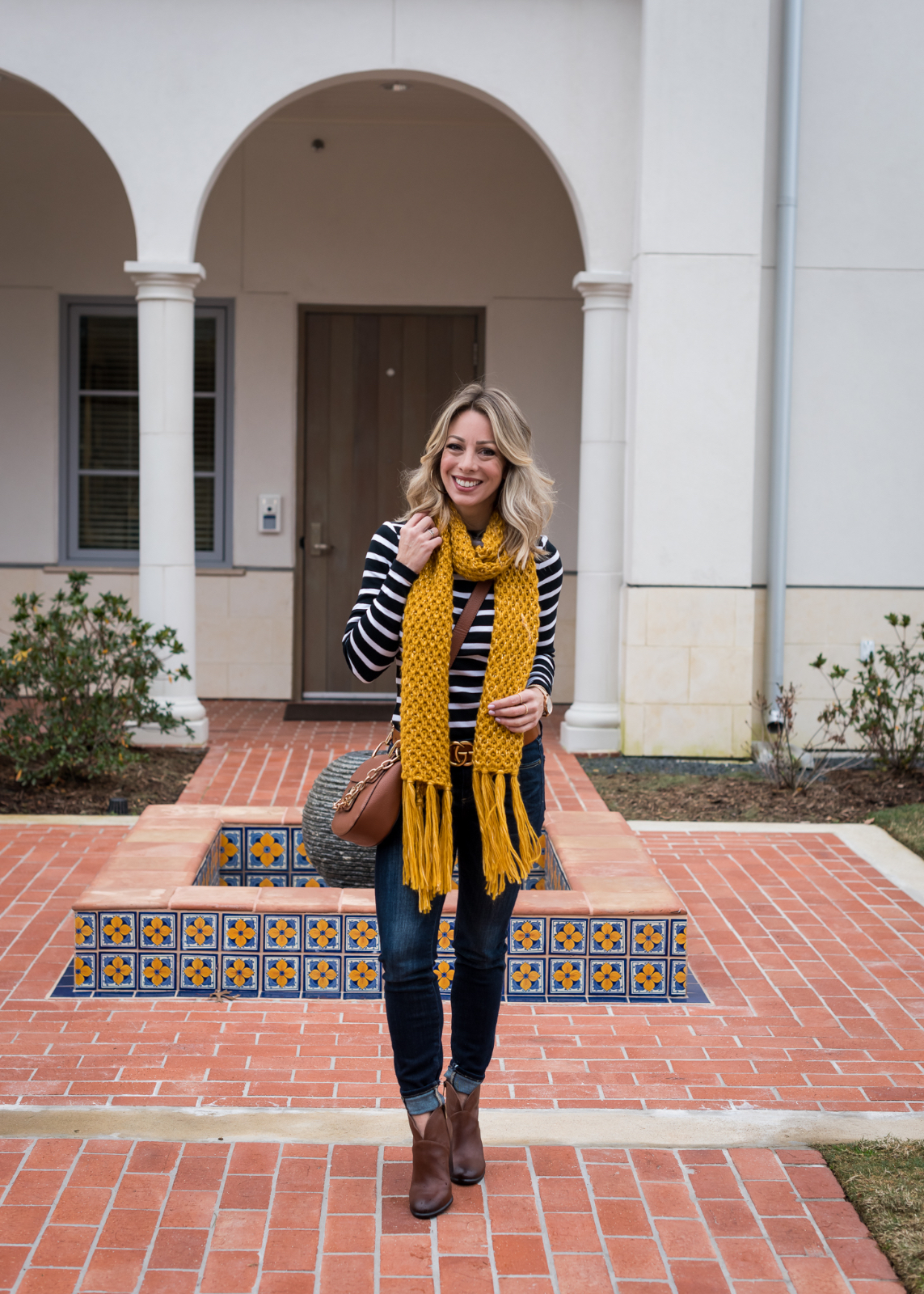Cute winter outfit with peacoat and yellow scarf 1