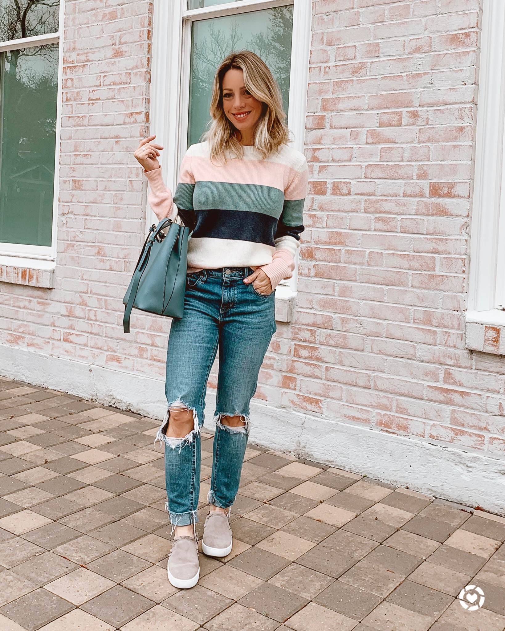cute winter outfit - striped sweater and ripped jeans