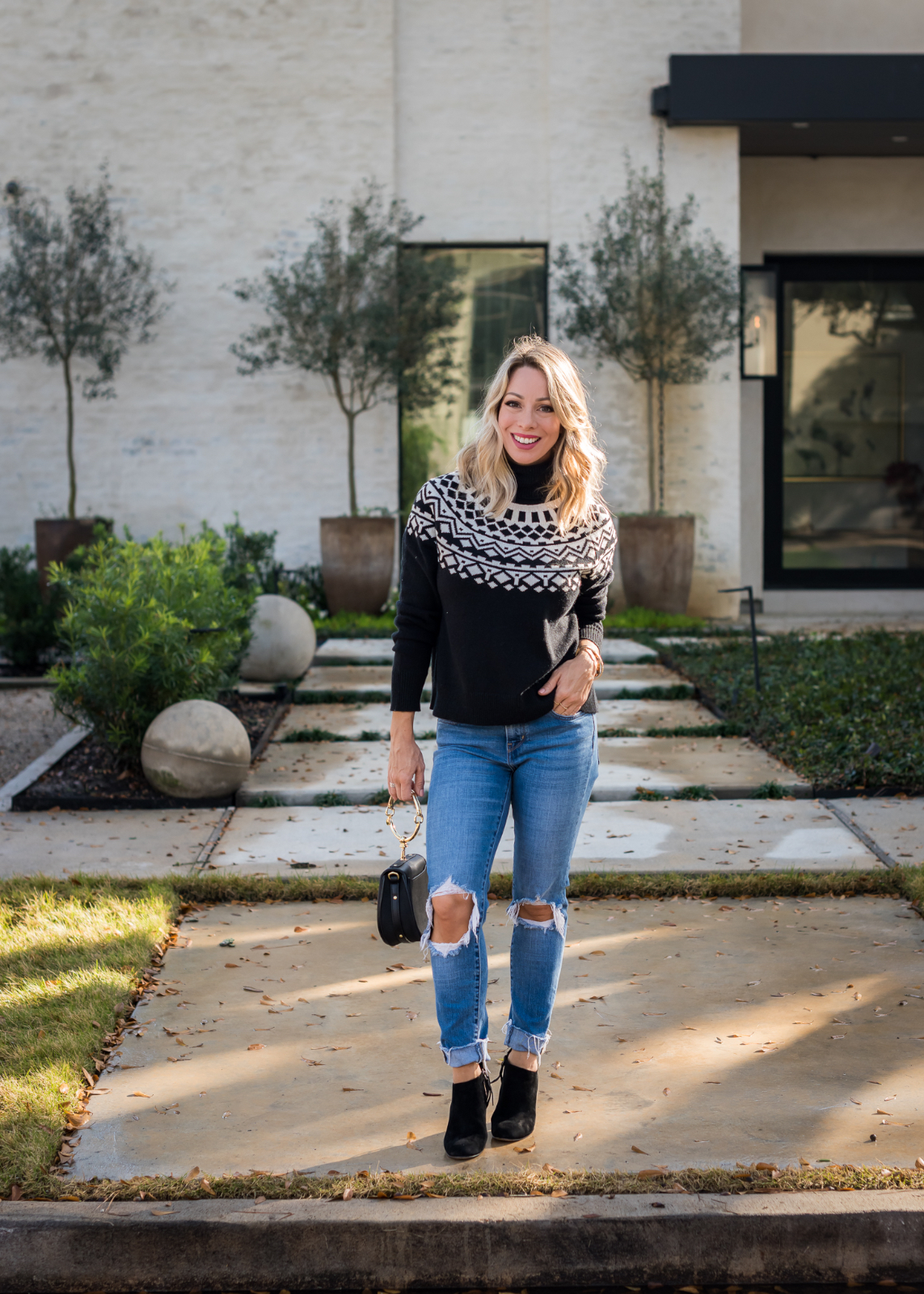 Winter outfit - black fair isle sweater