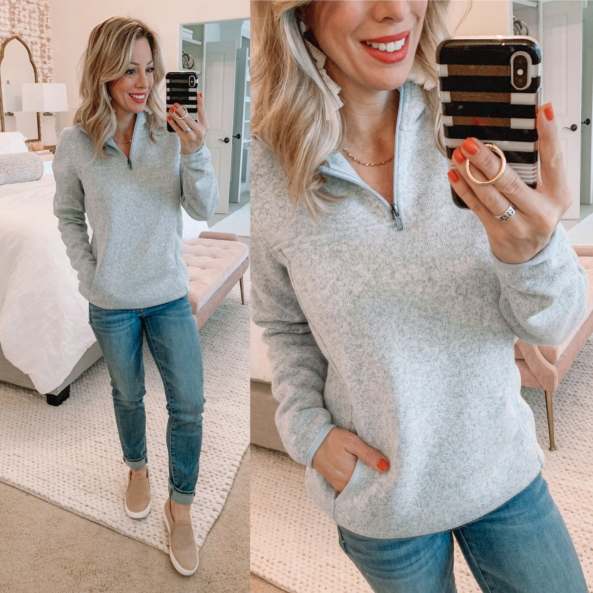 Half zip pullover and jeans