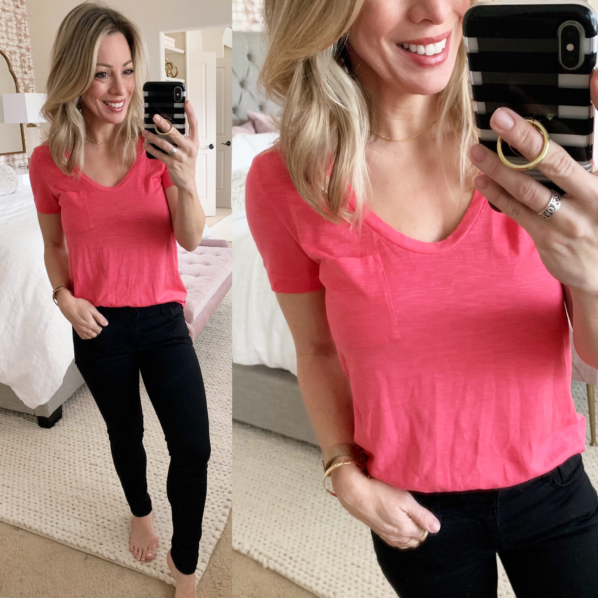 Cute casual outfit - pocket t shirt and black jeans