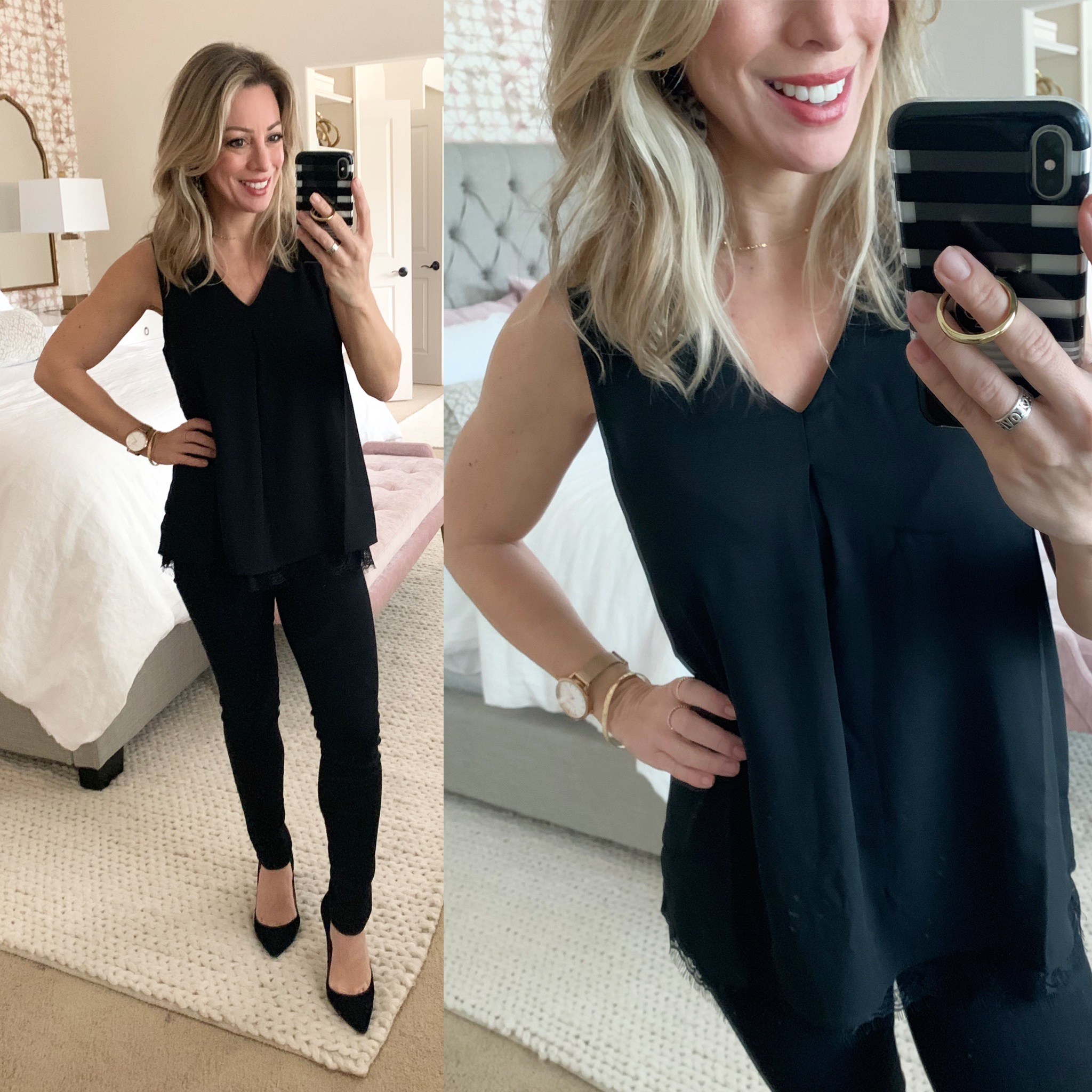 Date night outfit - black lace tank and black skinny jeans