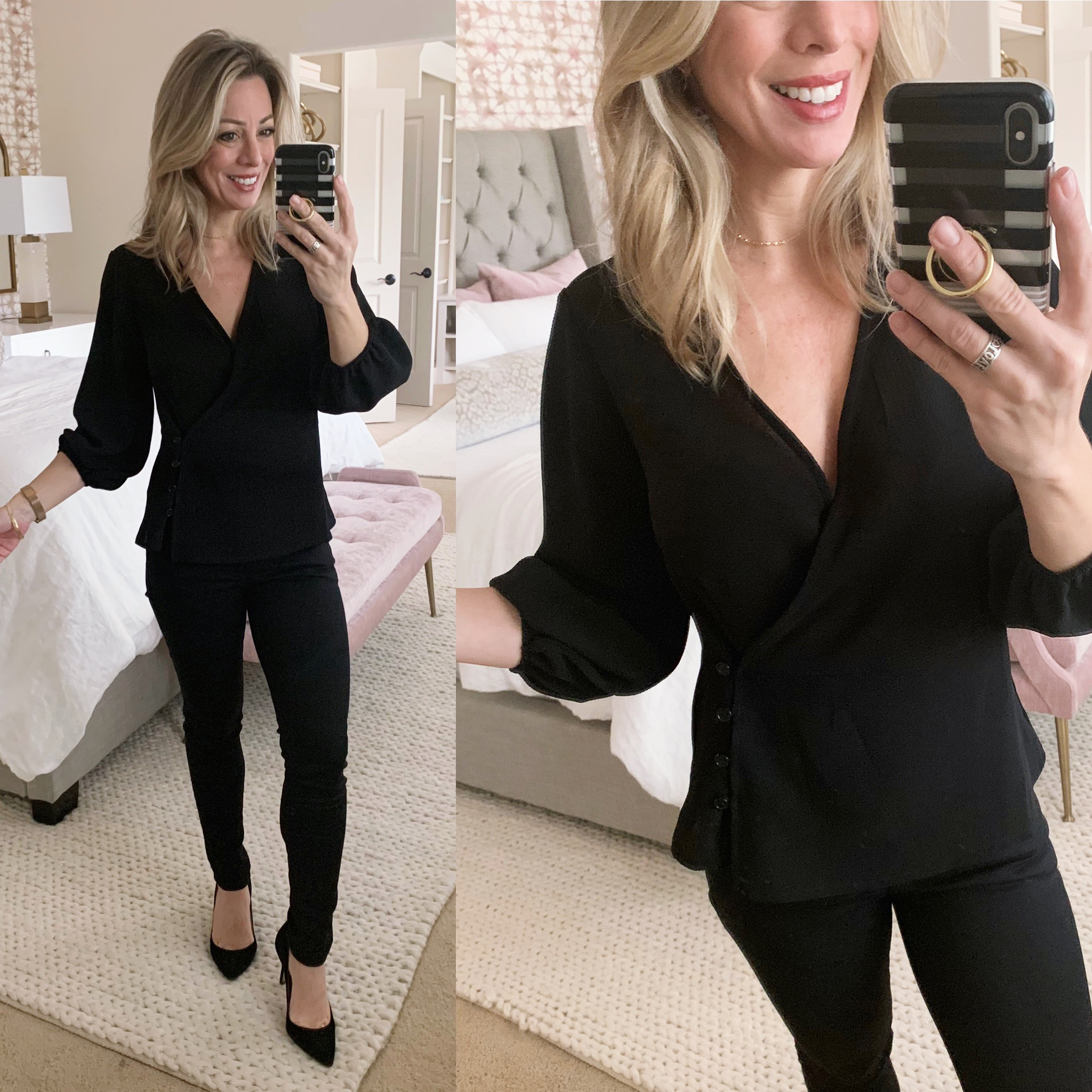 Side button top and black jeans
