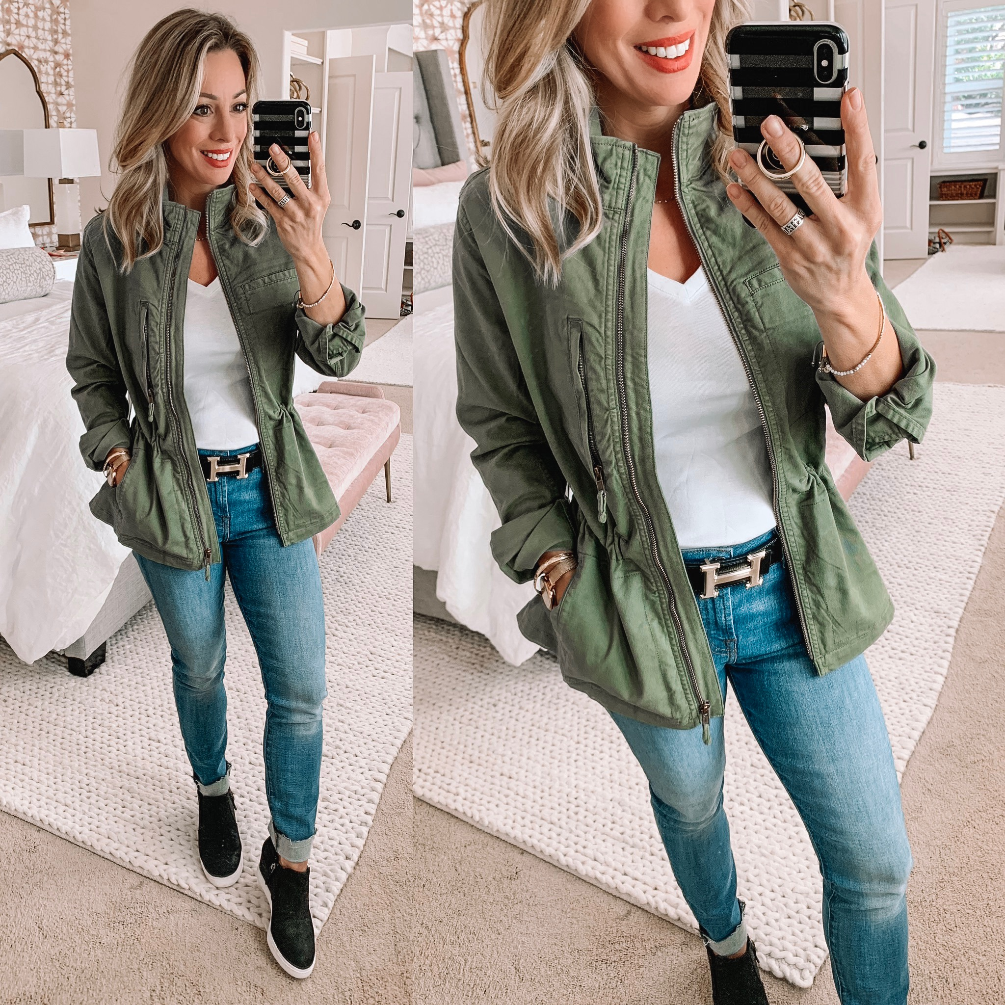 Military jacket with jeans and a white tee