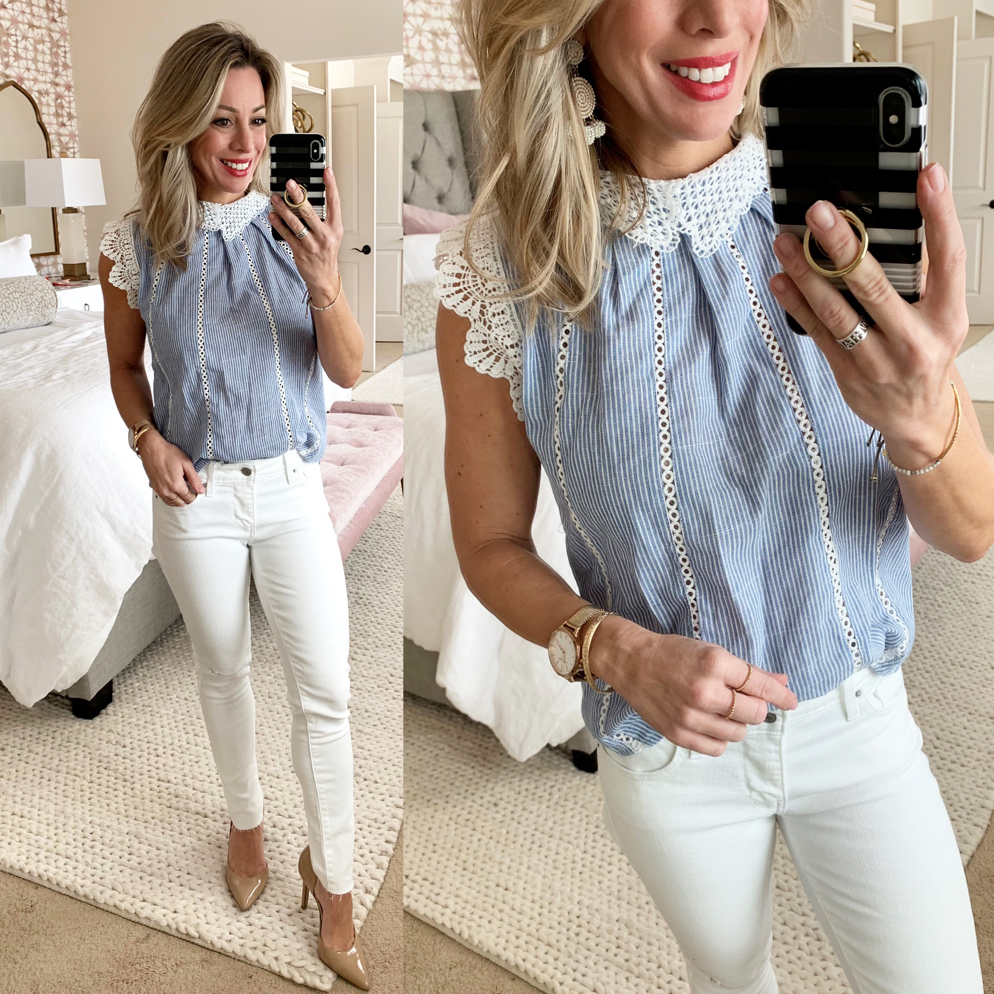 Cute Spring Outfit - white jeans and pinstripe top