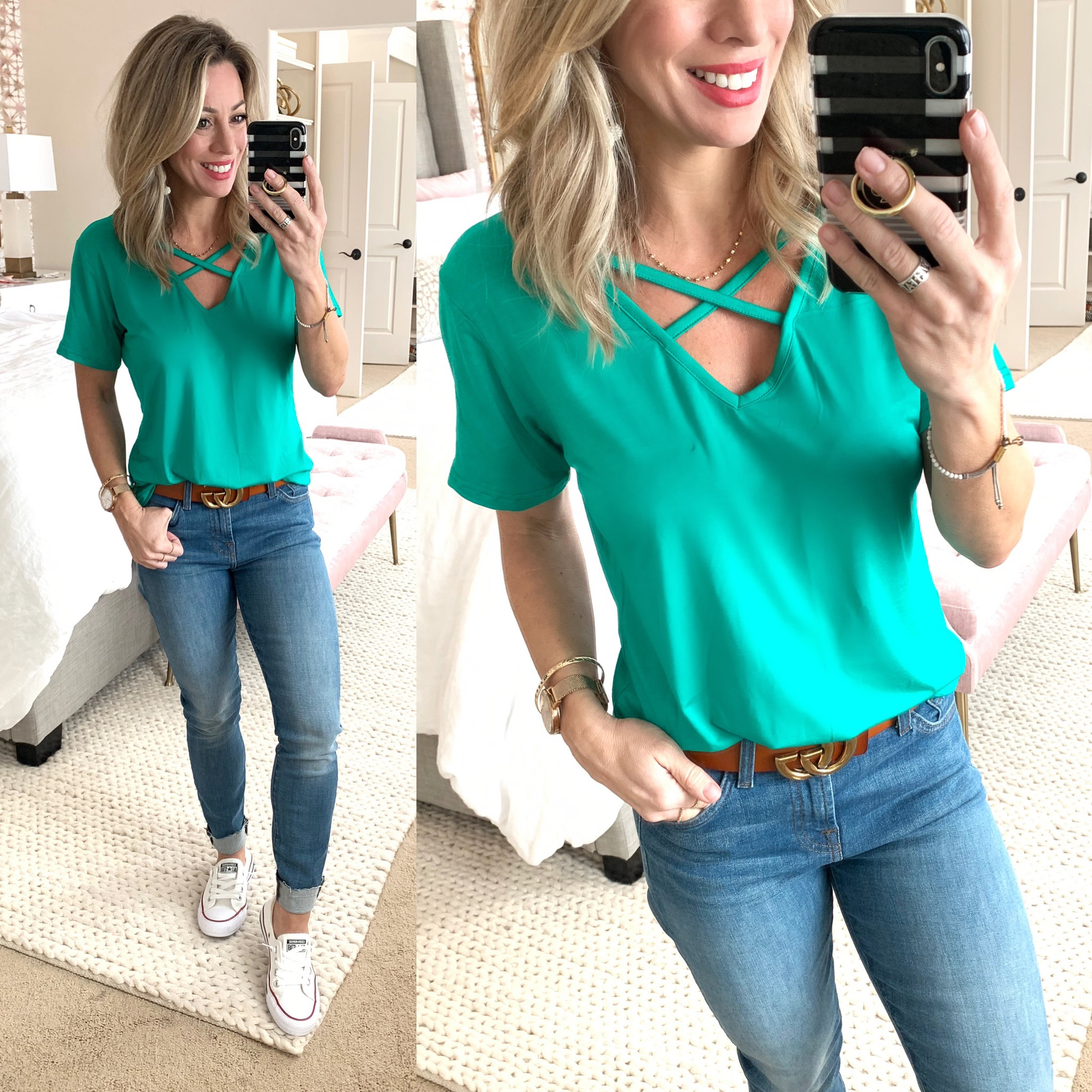 Green criss cross tee and jeans