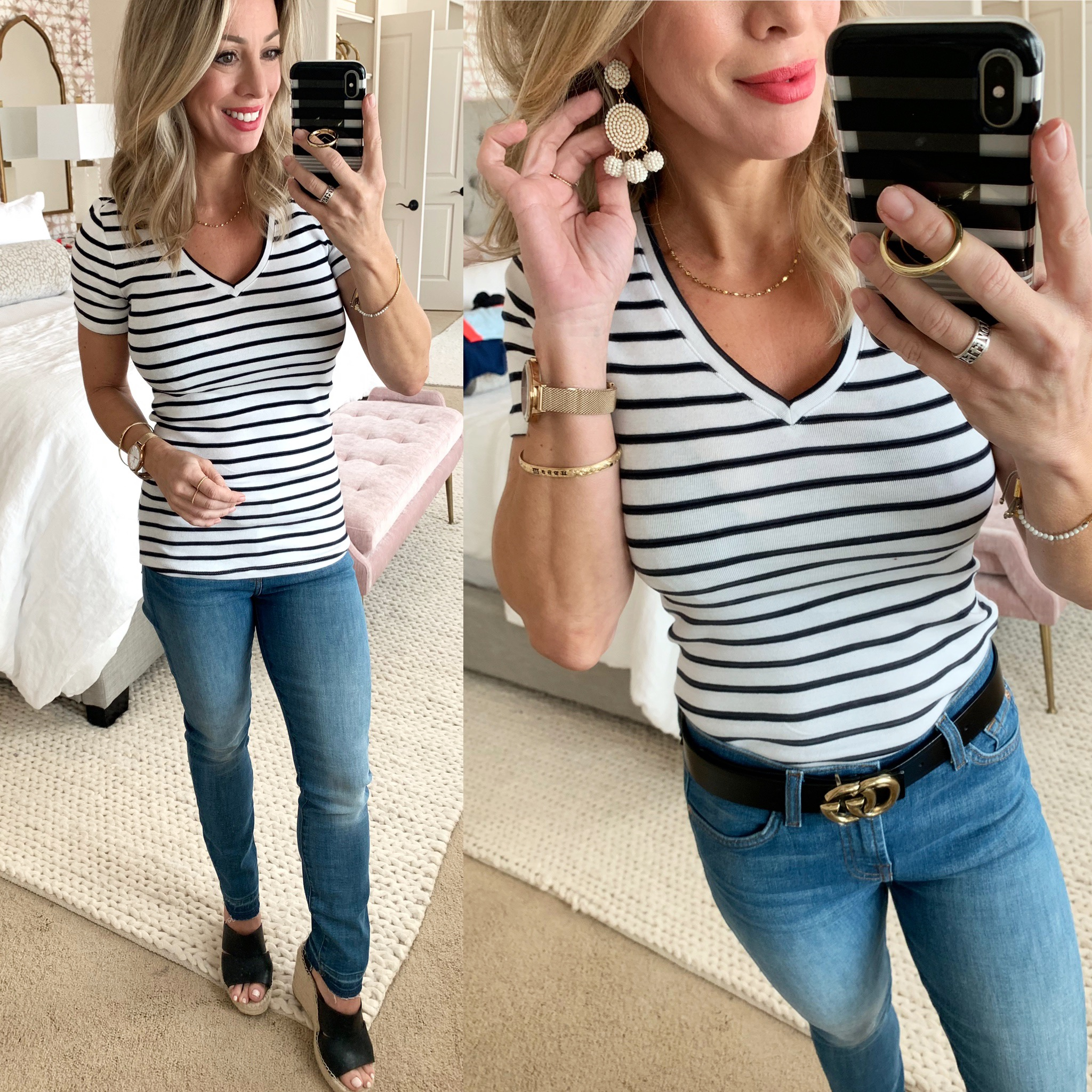 Striped tee and release hem jeans