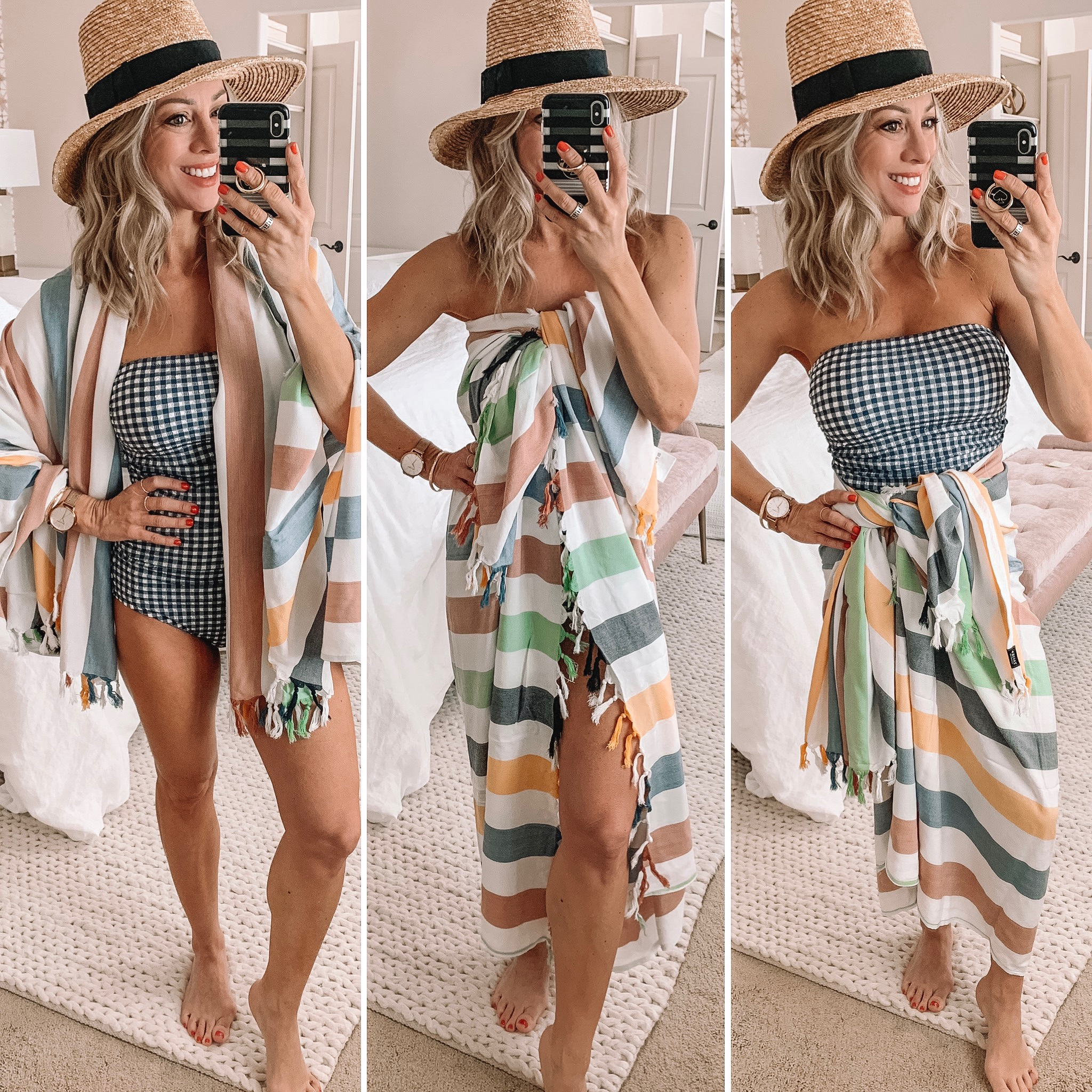 Gingham one-piece swimsuit with stripe sarong