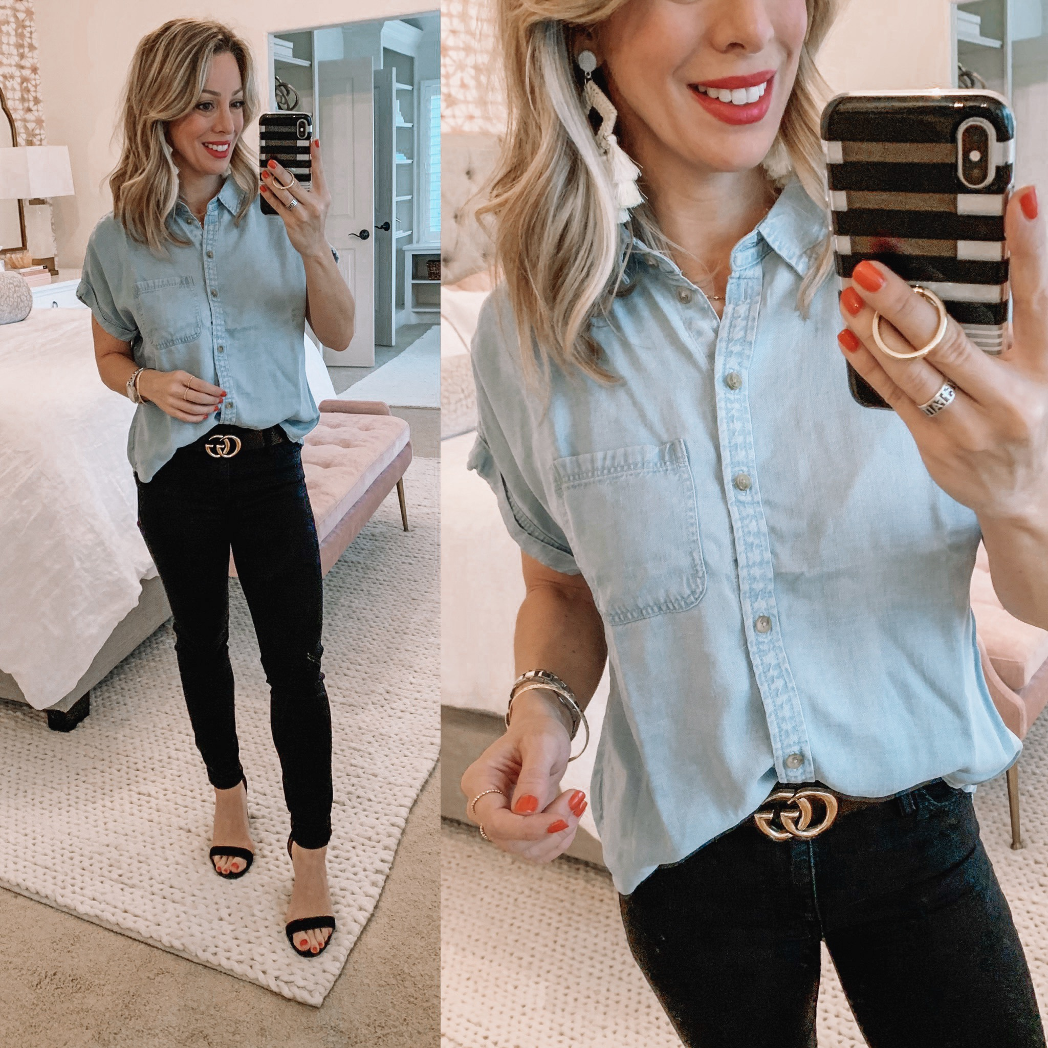 black jeans and chambray button down top