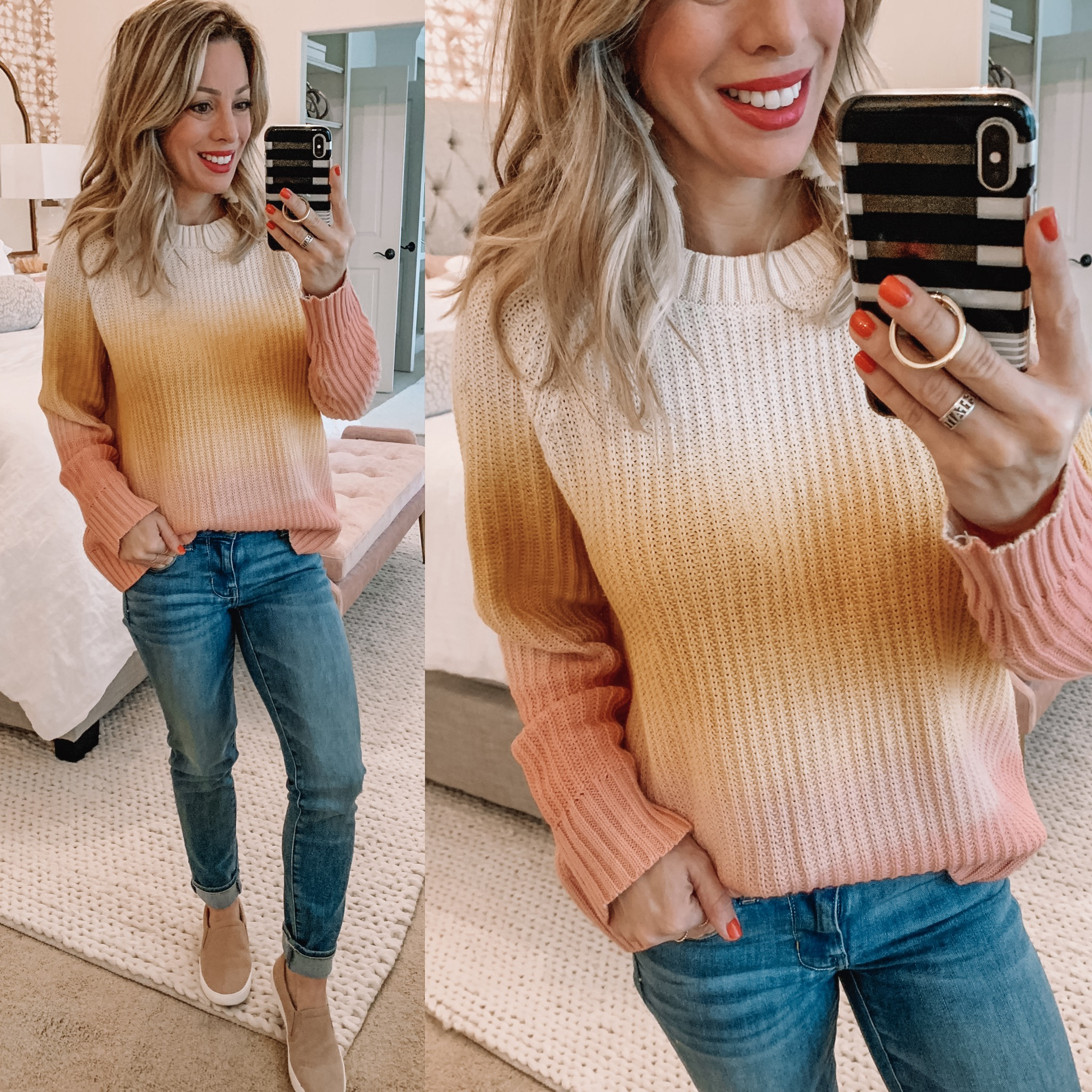 cute casual outfit sweater and jeans