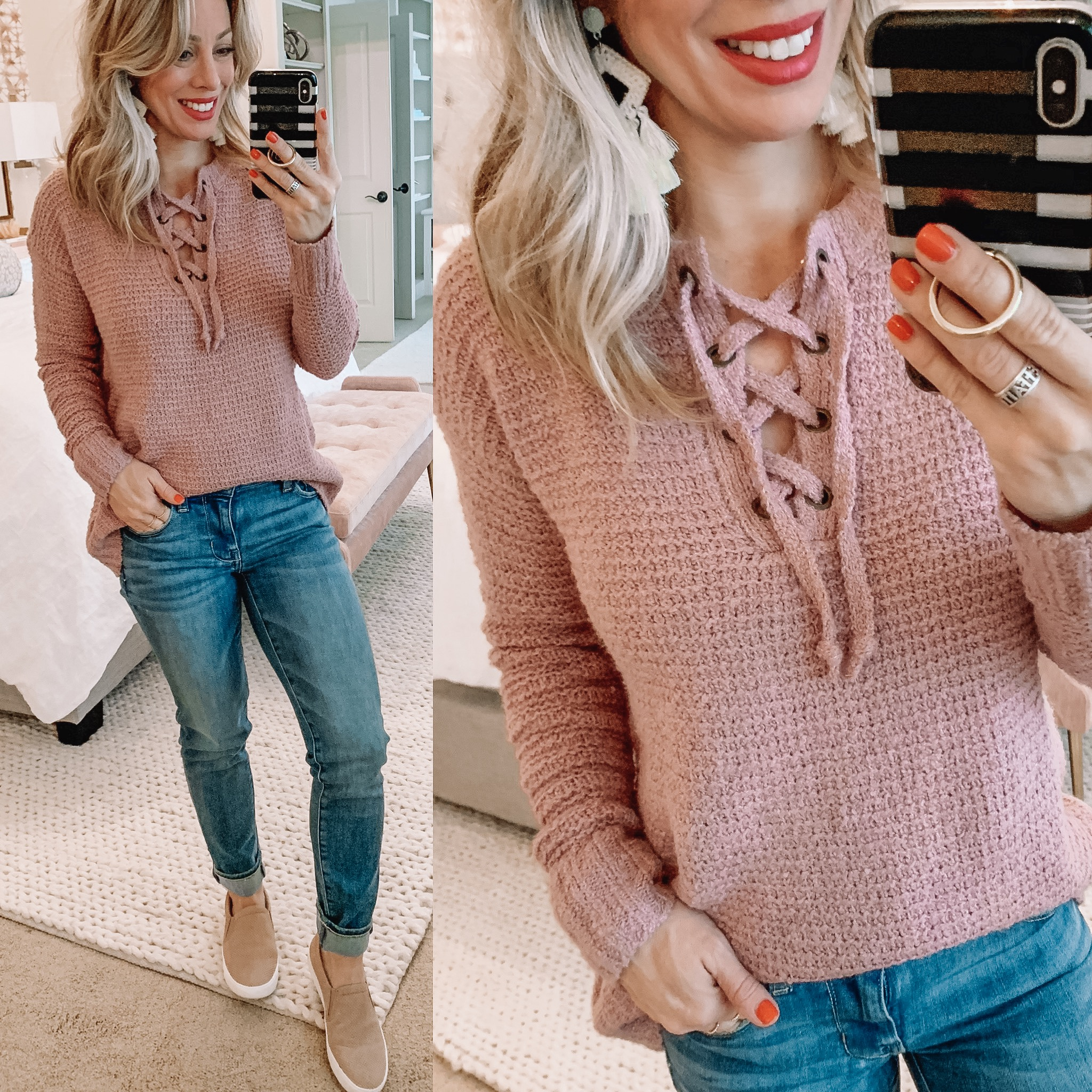 lace up sweater and jeans