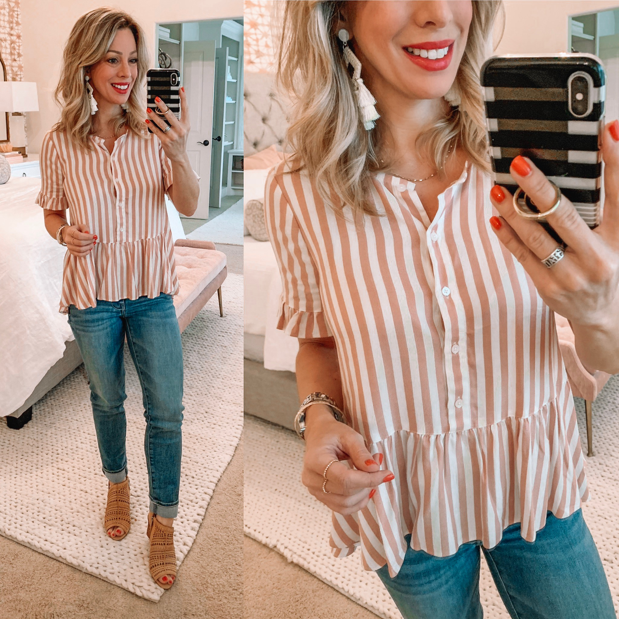 pink and white striped peplum top and jeans