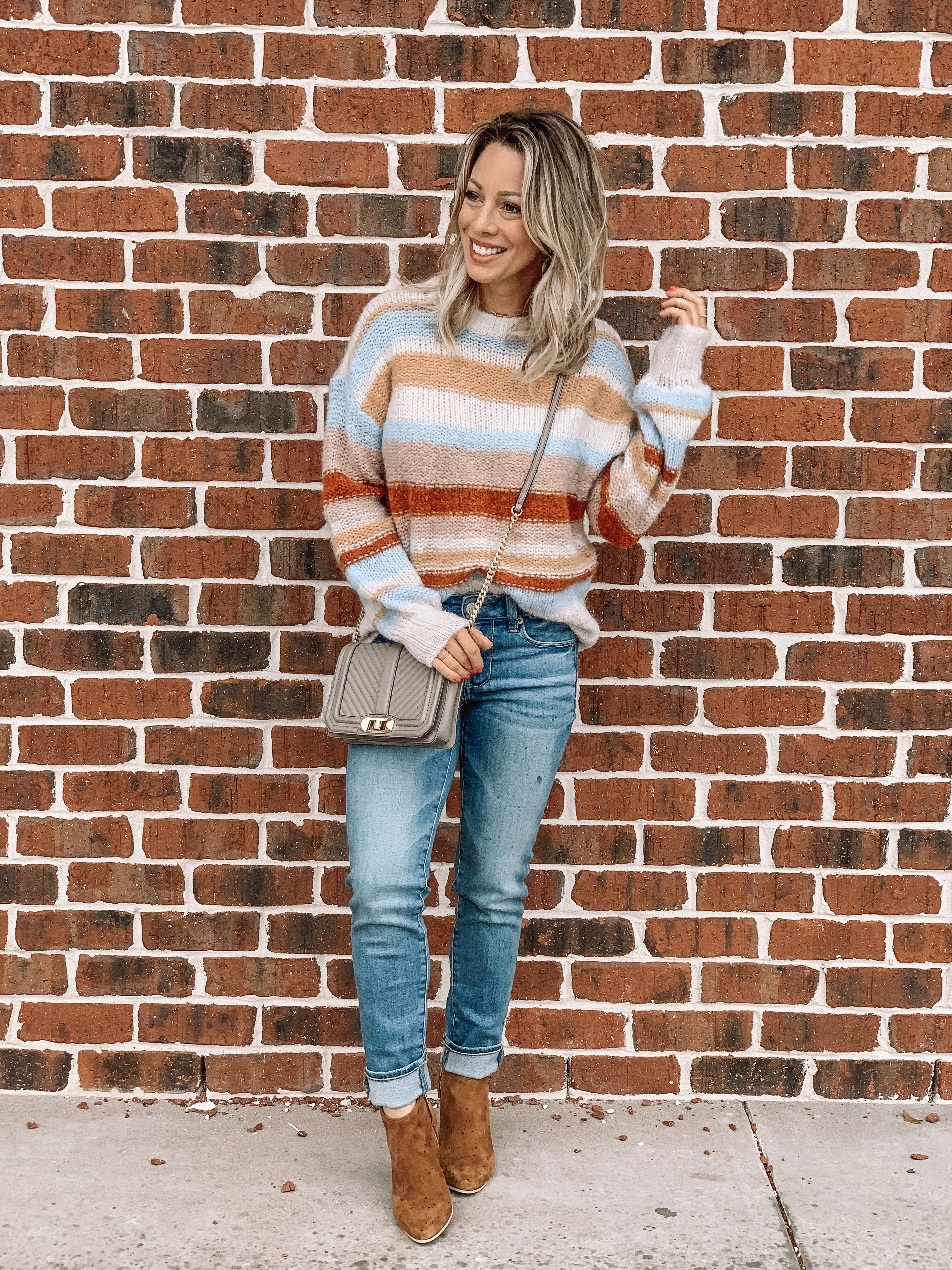 Jeans and striped sweater with booties